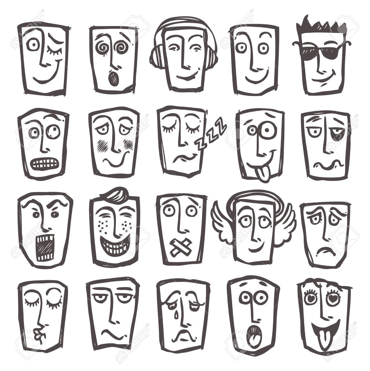 Sketch emoticons man head face expressions icons set isolated vector illustration stock vector 31011226