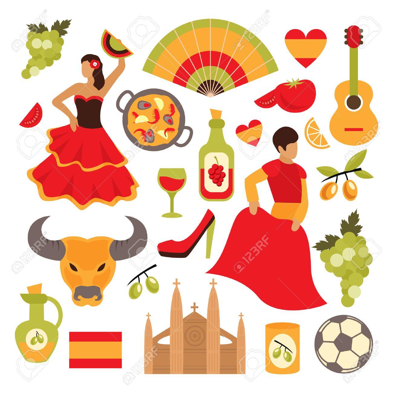 スペイン旅行観光アトラクション アイコン設定分離ベクトル イラスト