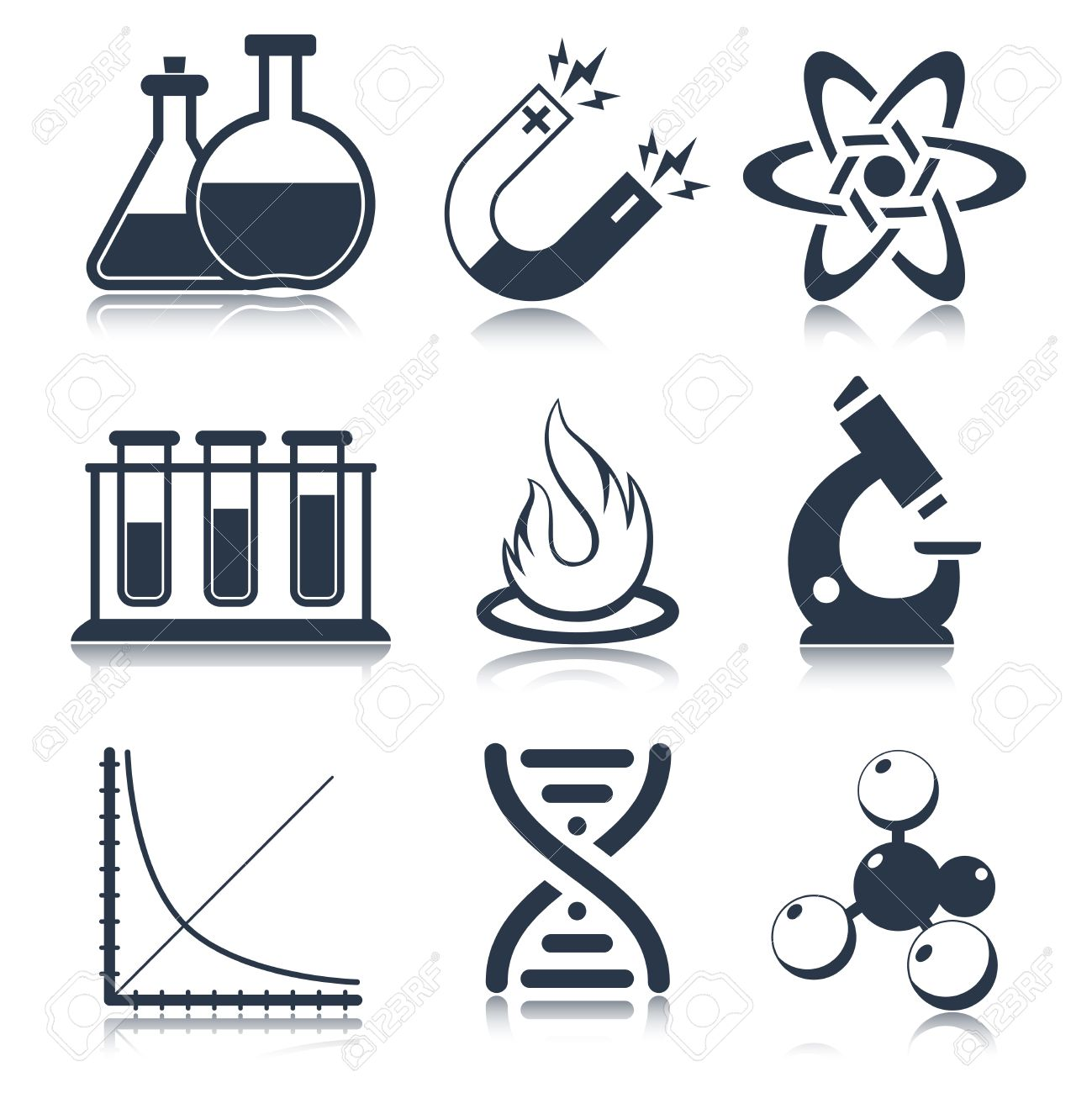 Physics Science Laboratory Equipment Black Education Icons Set Isolated Illustration Stock Vector