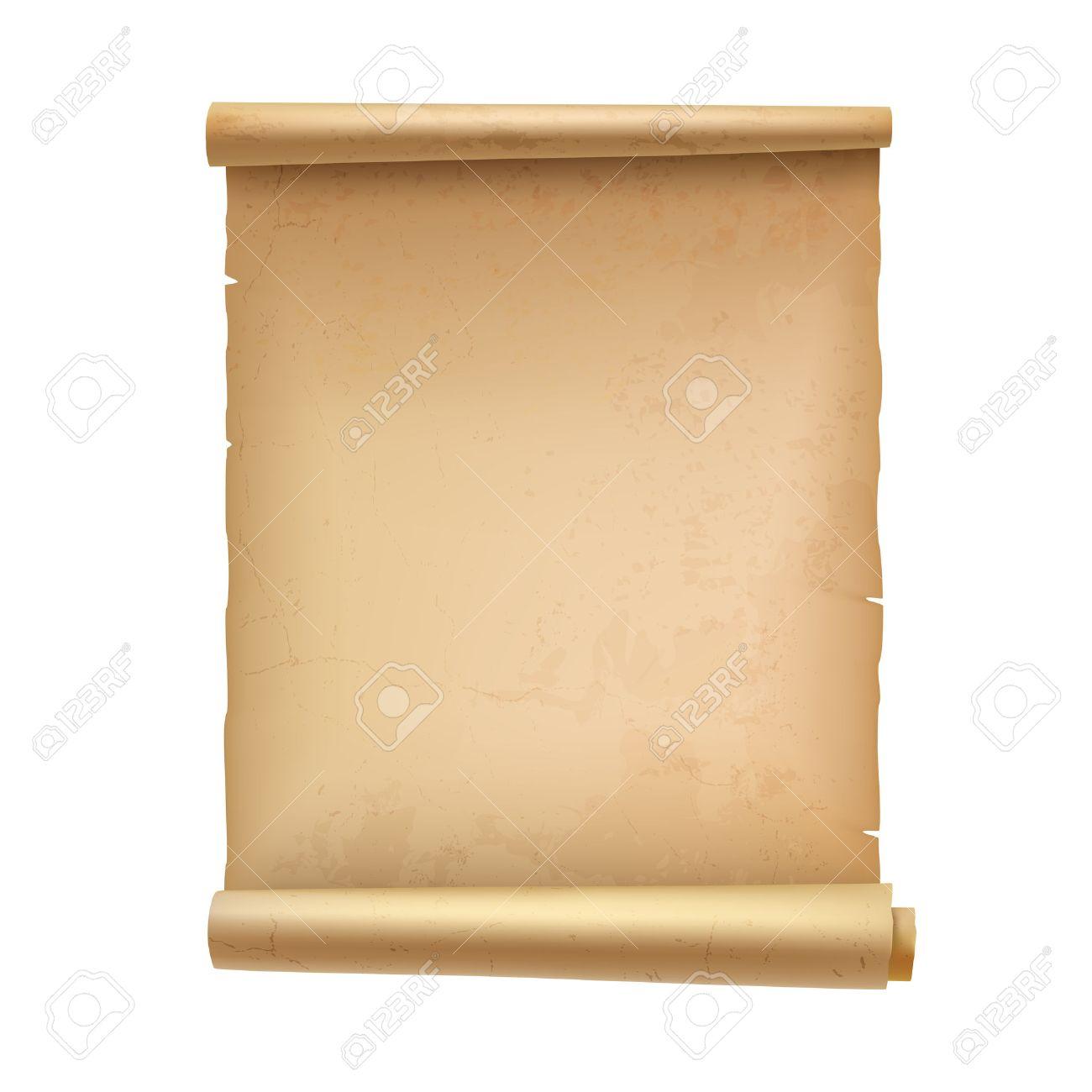 Jahrgang Leere Scroll-Dokument Pergament Isoliert Auf Weißem ...