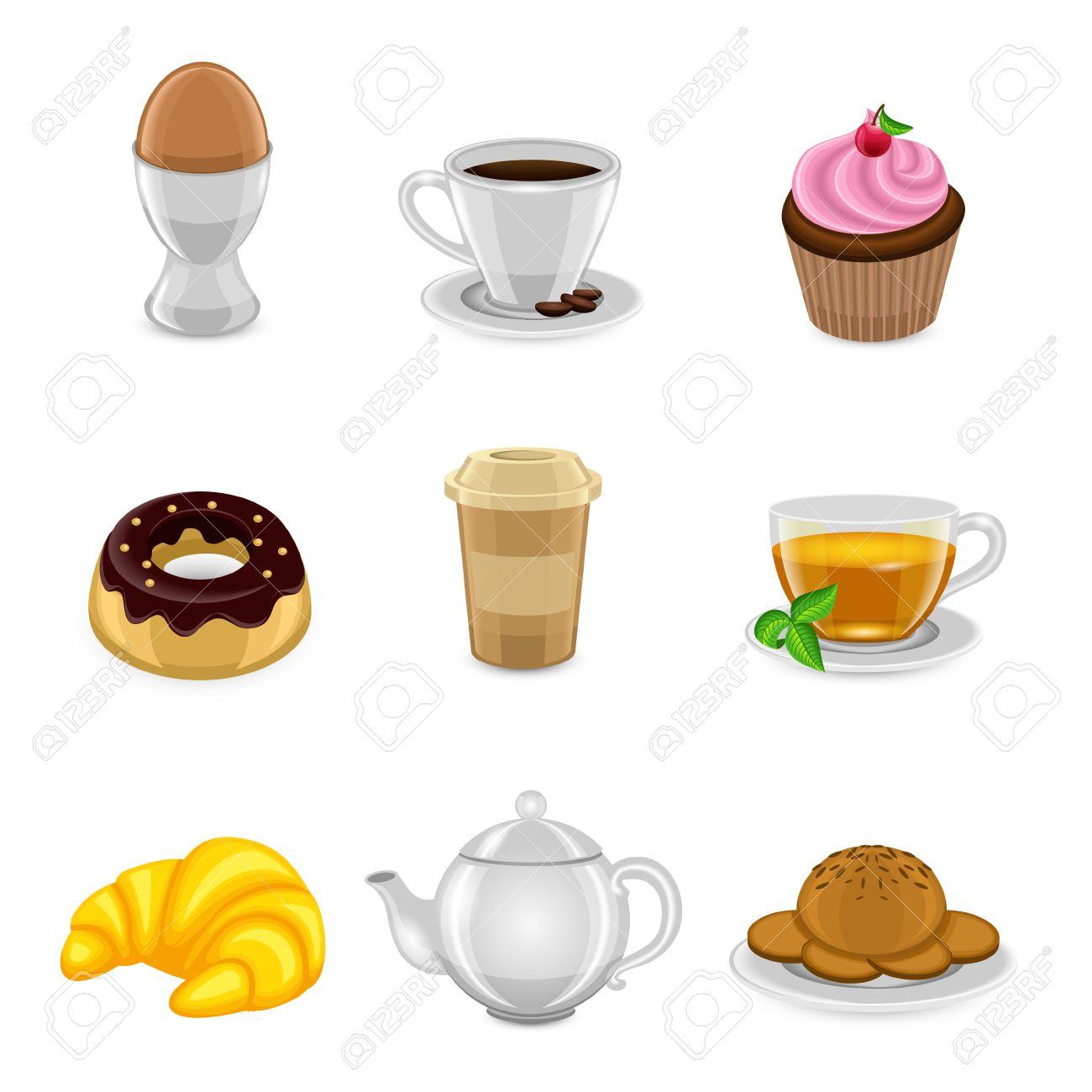 Fruhstuck Essen Und Trinken Symbol Mit Ei Kaffee Tasse Kuchen Und