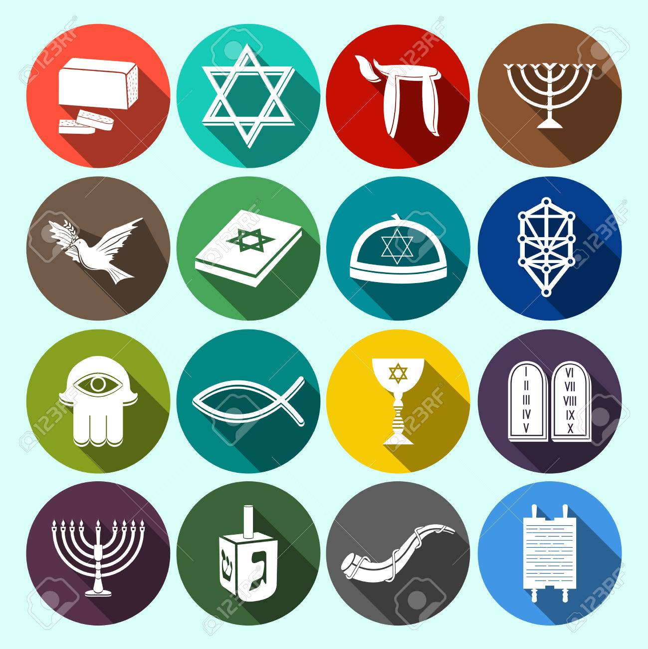 Jewish Church Traditional Religious Symbols Flat Icons Set With