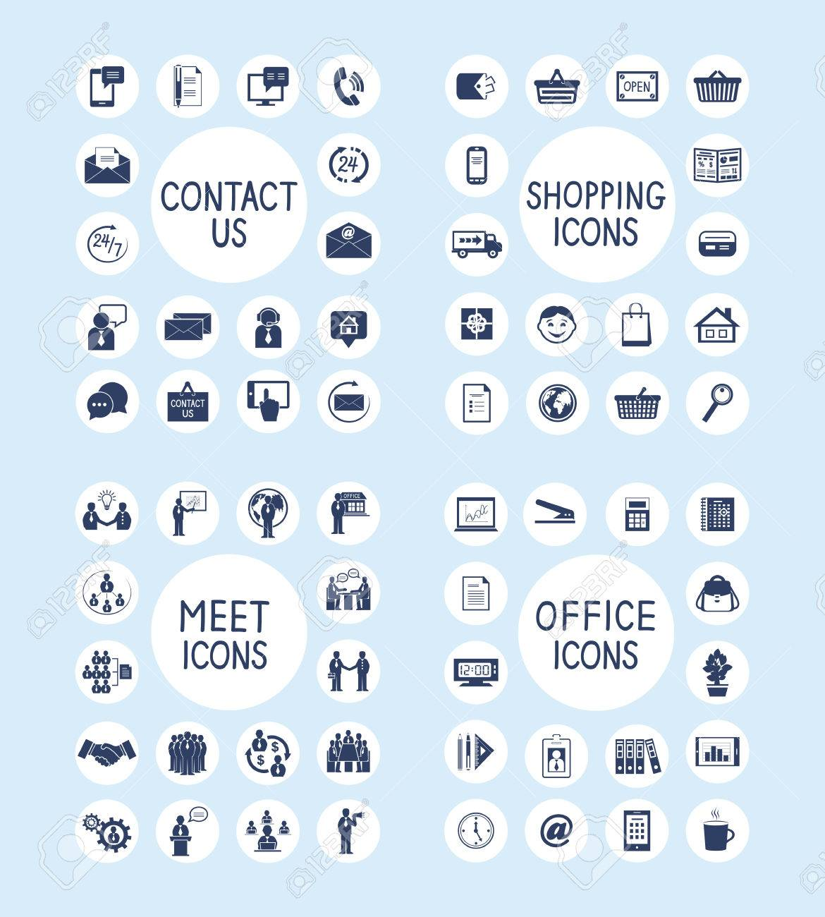 Business people meeting contact us customer care internet shopping marketing and office stationery supplies icons set isolated vector illustration - 31467055