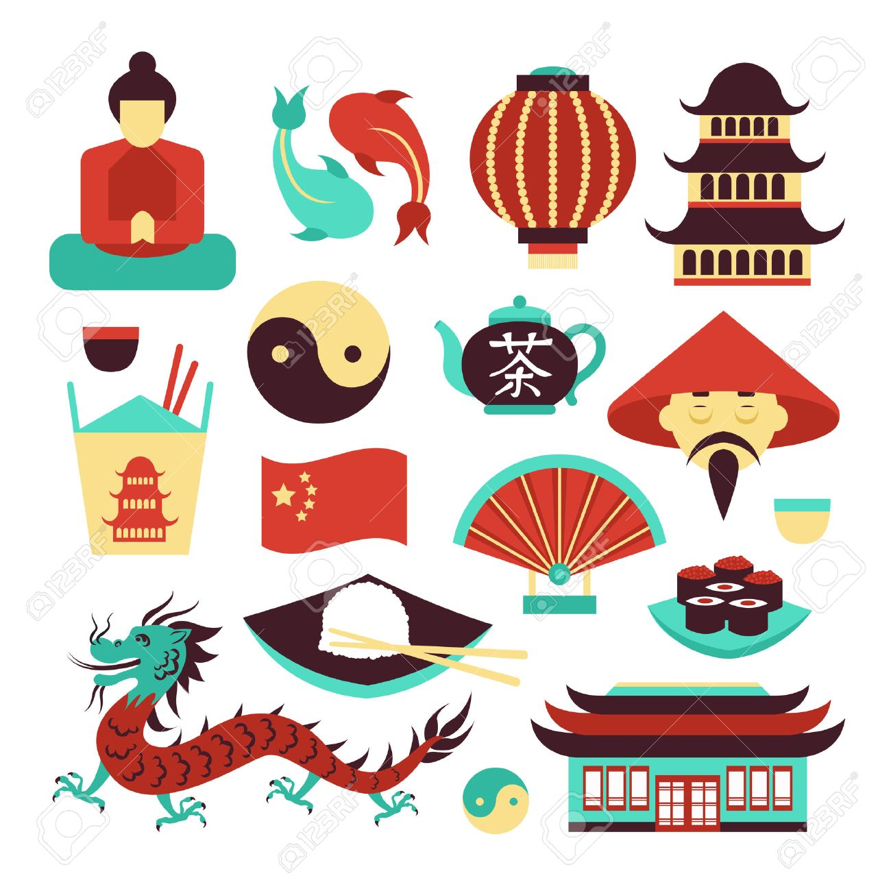 China Travel Asian Traditional Culture Symbols Set Isolated Vector