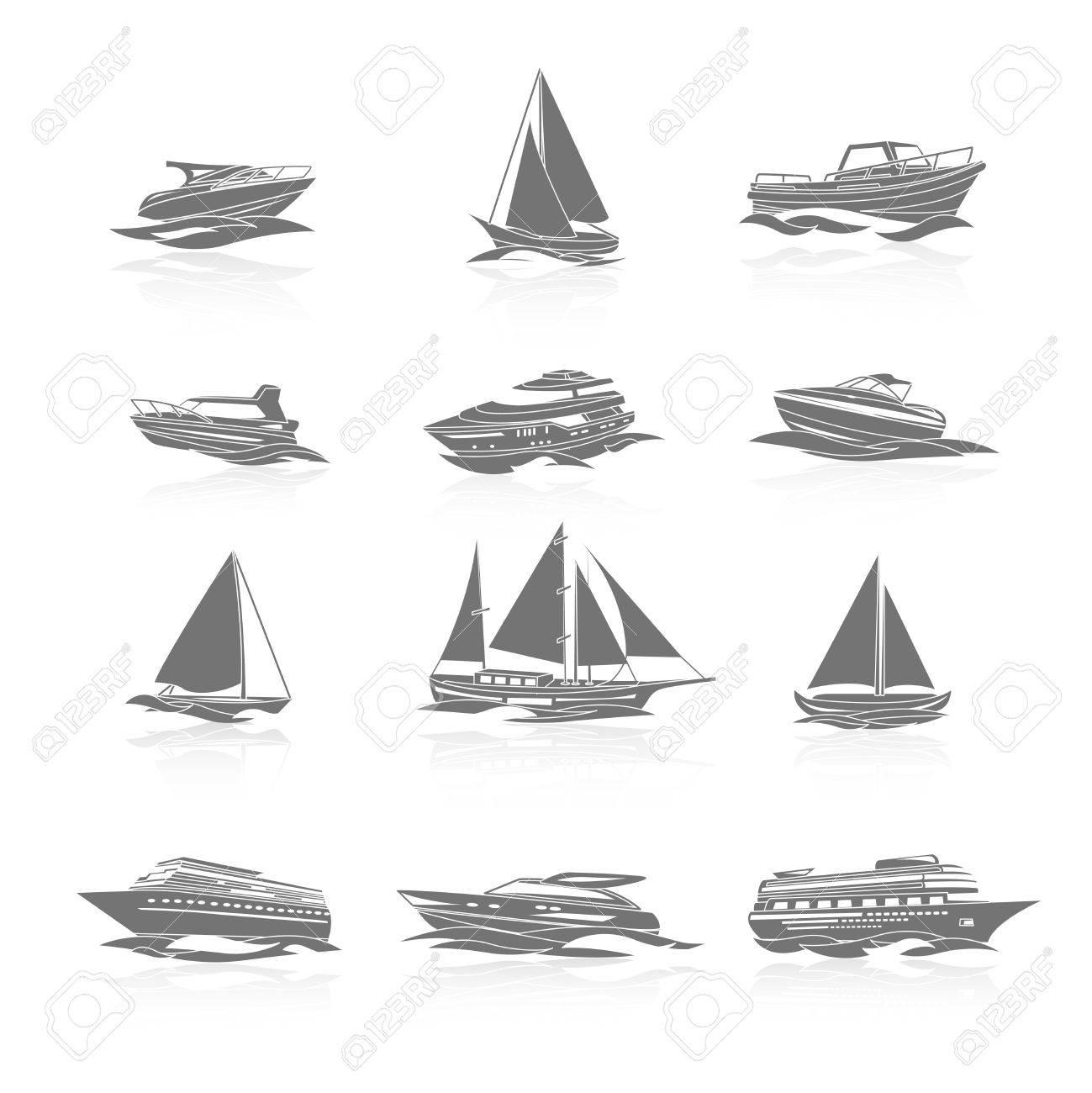 Segelboot zeichnung schwarz  Ozean-Kreuzfahrtschiff Schiff Und Segelboot Yachten Boote ...