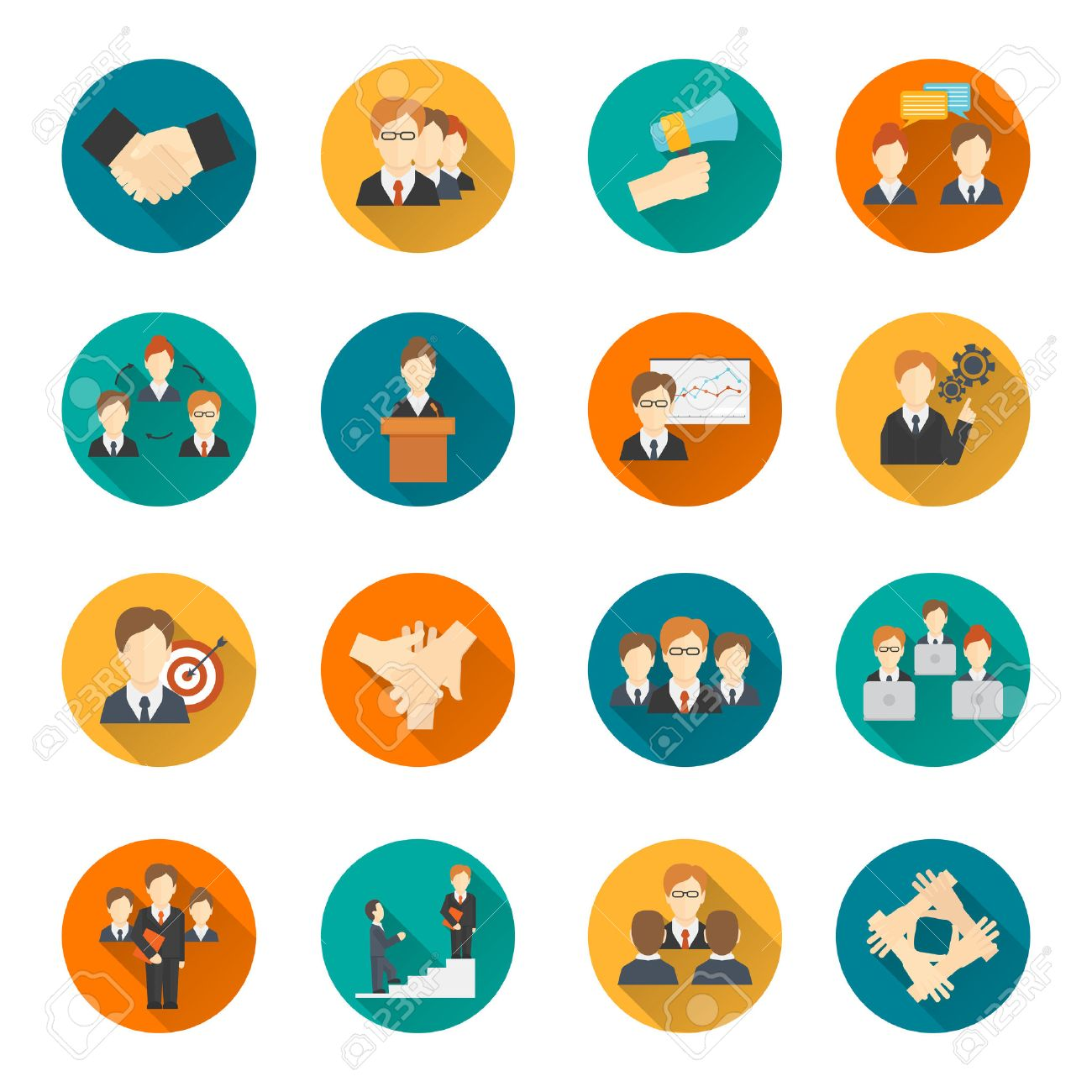 Teamwork corporate organization business strategy flat round button icons set isolated vector illustration - 31467692