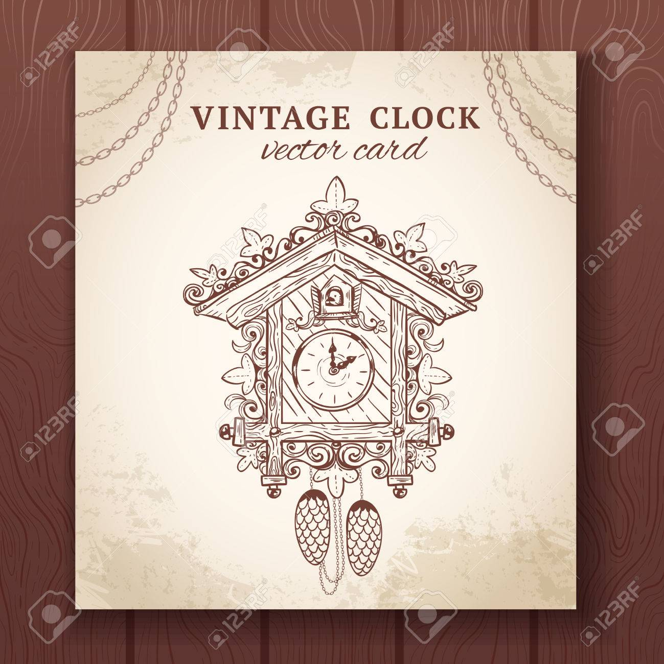 Vettoriale Old Vintage Retrò Orologio A Cucù Schizzo Illustrazione
