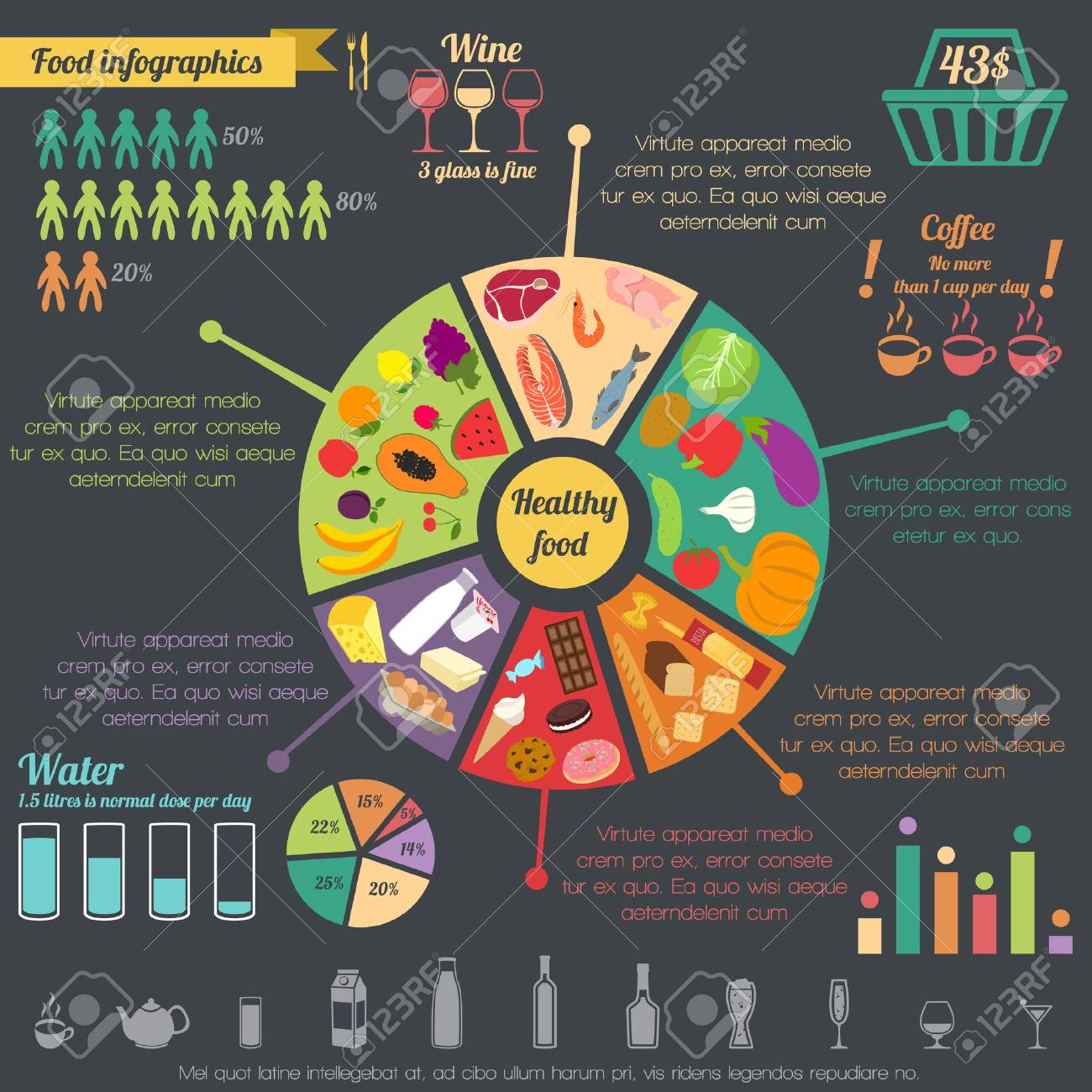 Healthy food concept infographic with pie chart and icons vector healthy food concept infographic with pie chart and icons vector illustration stock vector 31725592 nvjuhfo Image collections