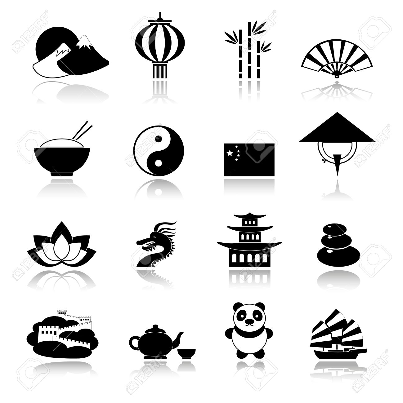 China Travel Traditional Culture Symbols Black Icons Set With