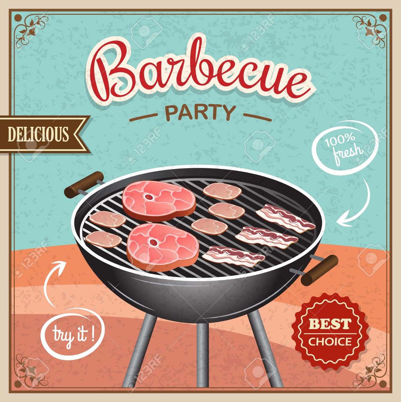 Bbq grill party best choice flyer promo restaurant poster vector