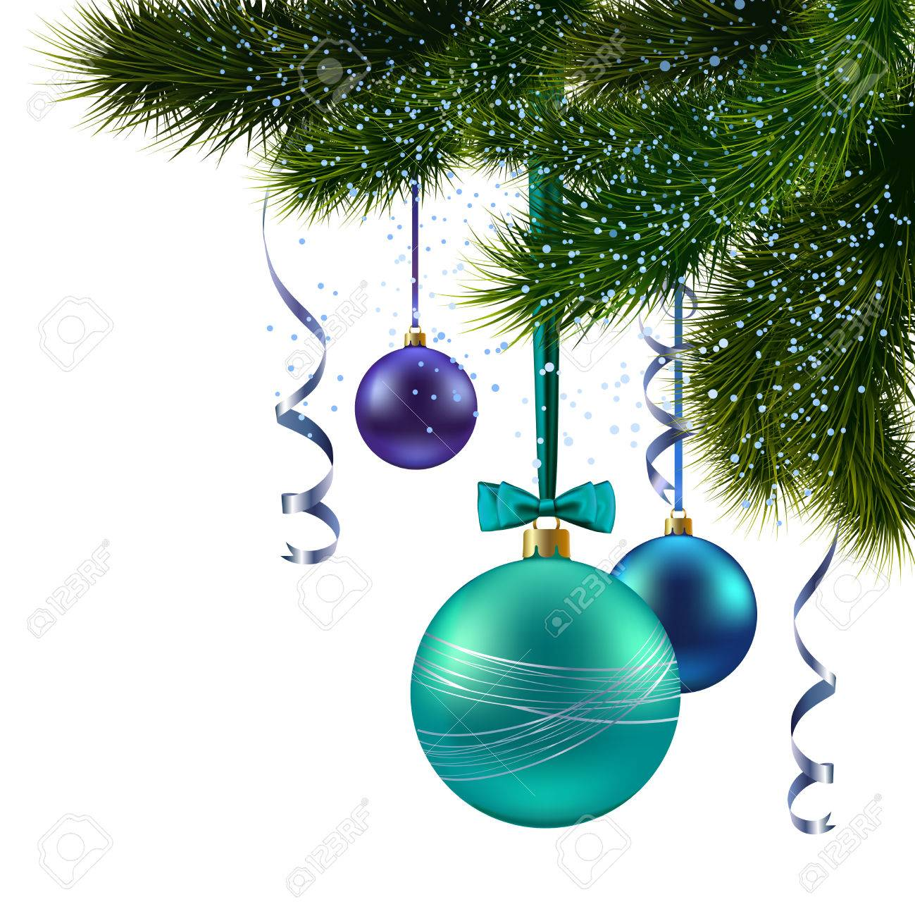 Pine Branches For Decoration Christmas Pine Tree Branch With Decoration Balls Background