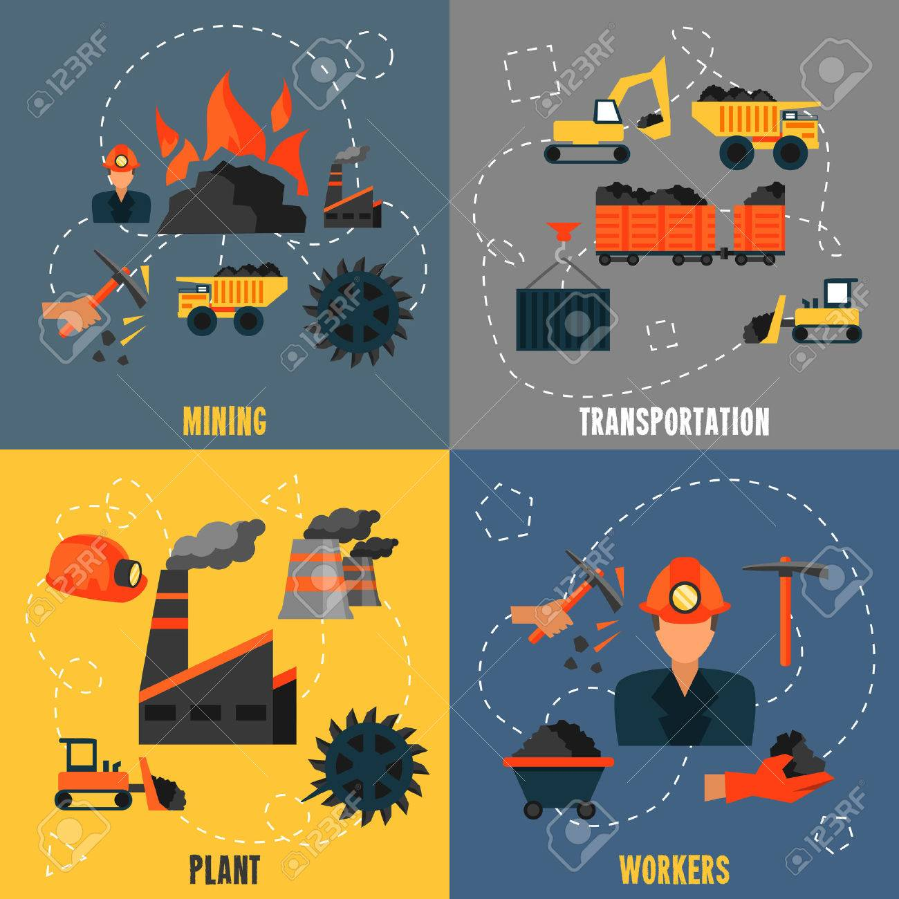 Coal Industry Mining Transportation Plant Workers Flat Icons ...