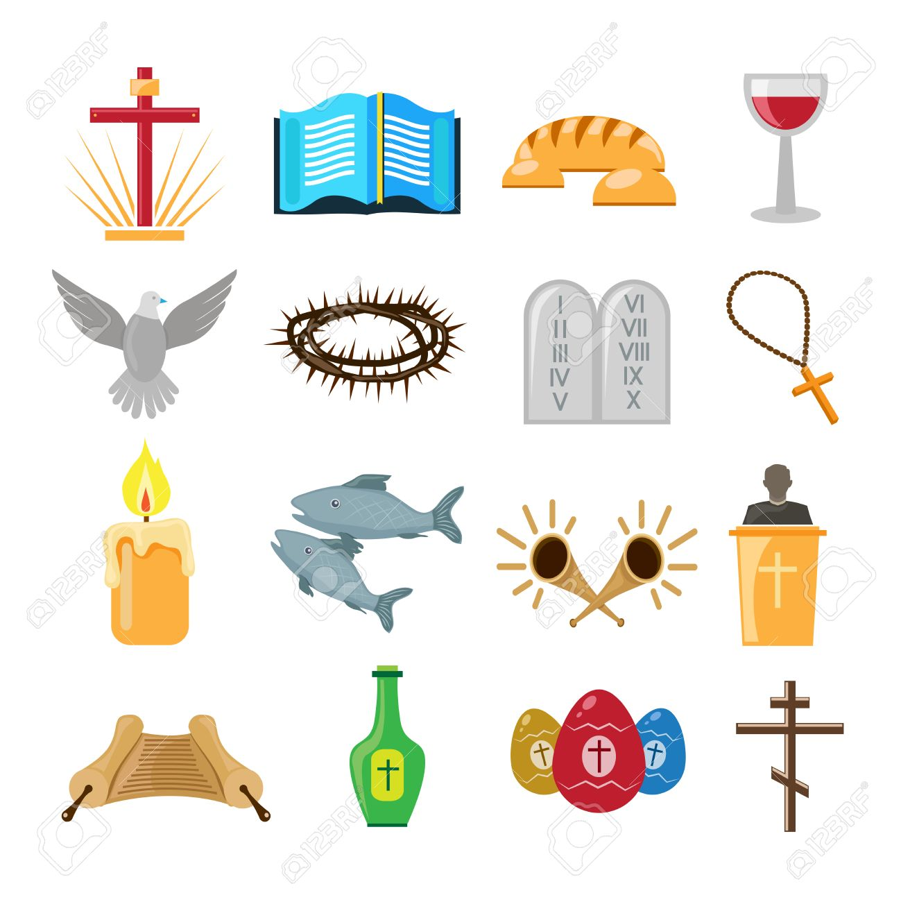 Christian church traditional symbols icons set isolated vector christian church traditional symbols icons set isolated vector illustration stock vector 31726642 buycottarizona Gallery
