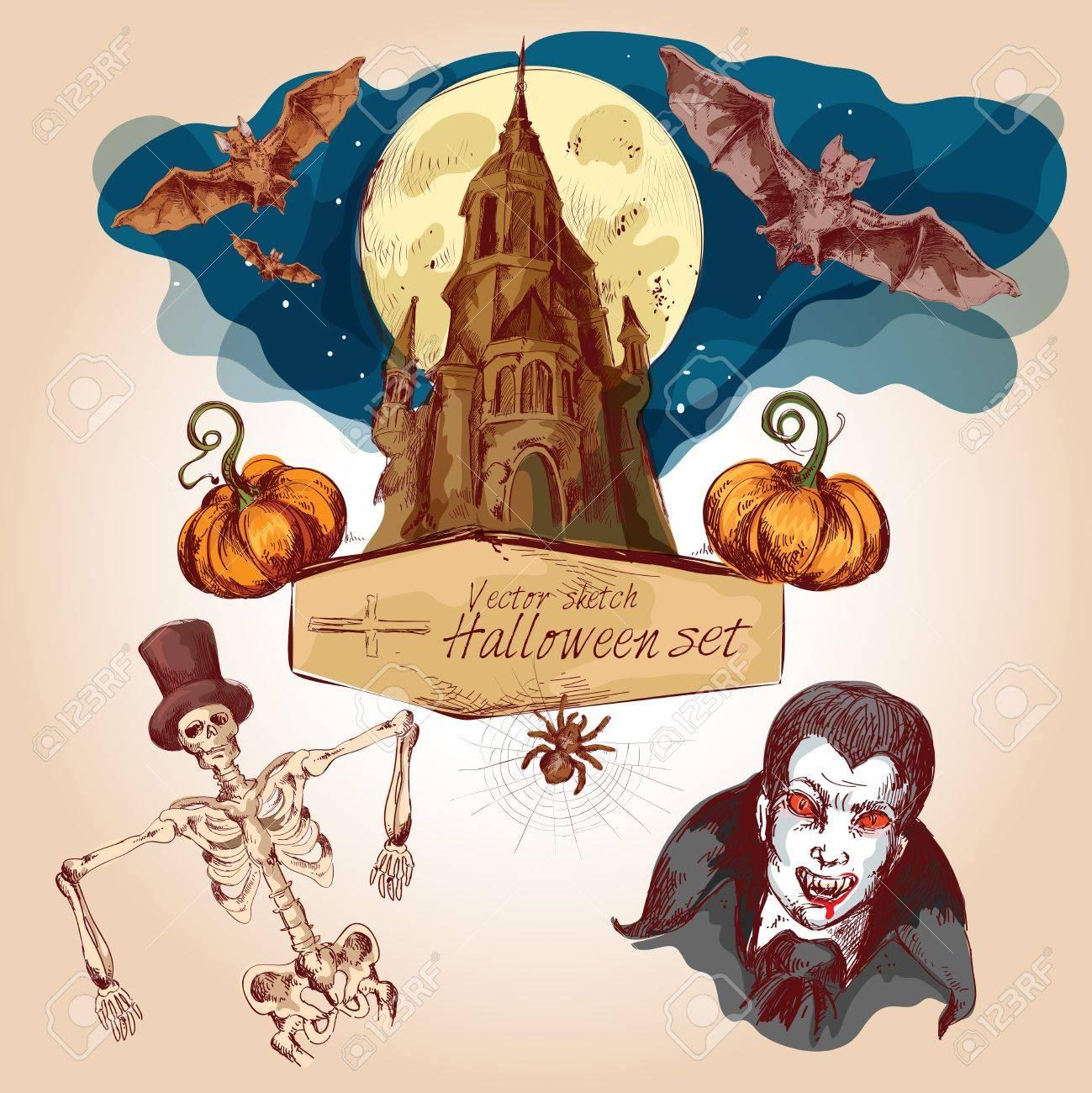 Celebración Del Día De Fiesta De Halloween Elementos Tradicionales ...