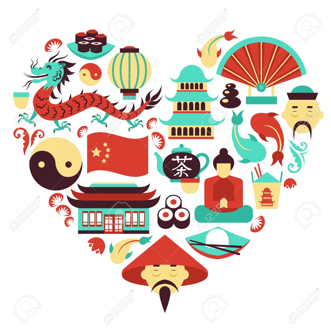China Travel Asian Traditional Culture Symbols In Heart Shape
