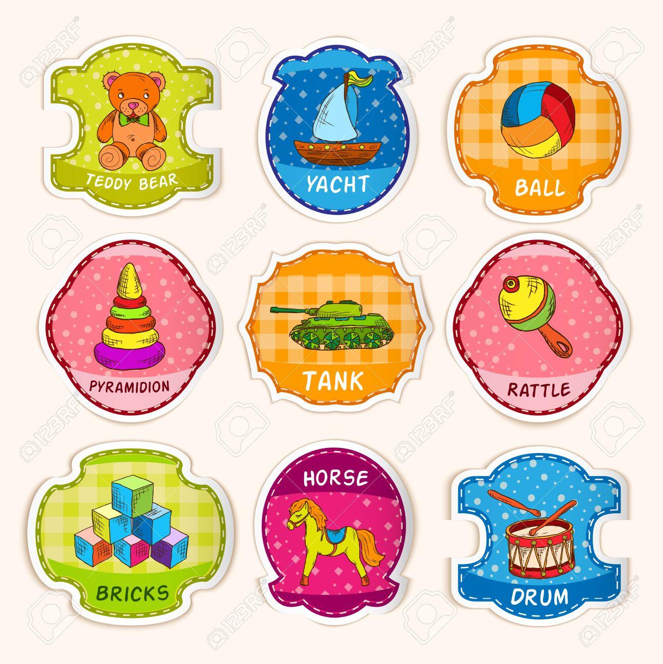 banque dimages enfants dcoratifs jouets icnes esquisse avec salle de jeux denfant papier peint fond illustration vectorielle