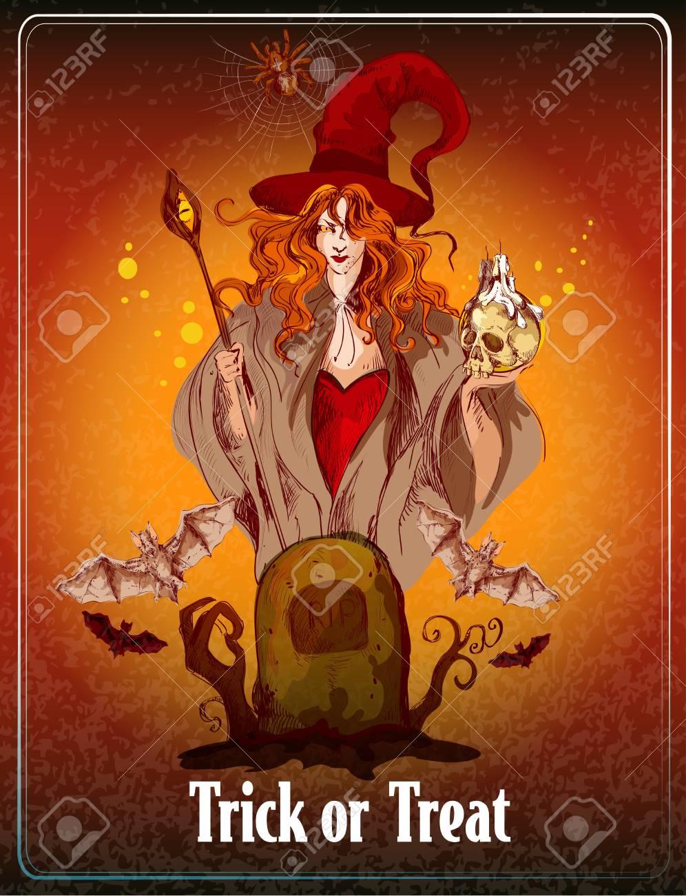 Halloween De Fondo De Color Boceto Con La Bruja Y Los Murciélagos ...