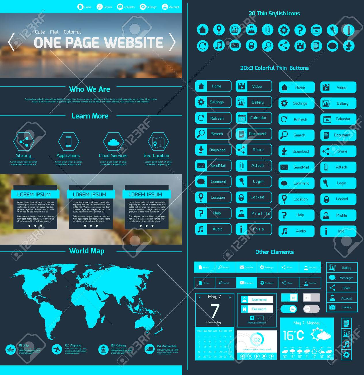One page website design template with world map menu icons and one page website design template with world map menu icons and navigation layout elements vector illustration gumiabroncs Choice Image