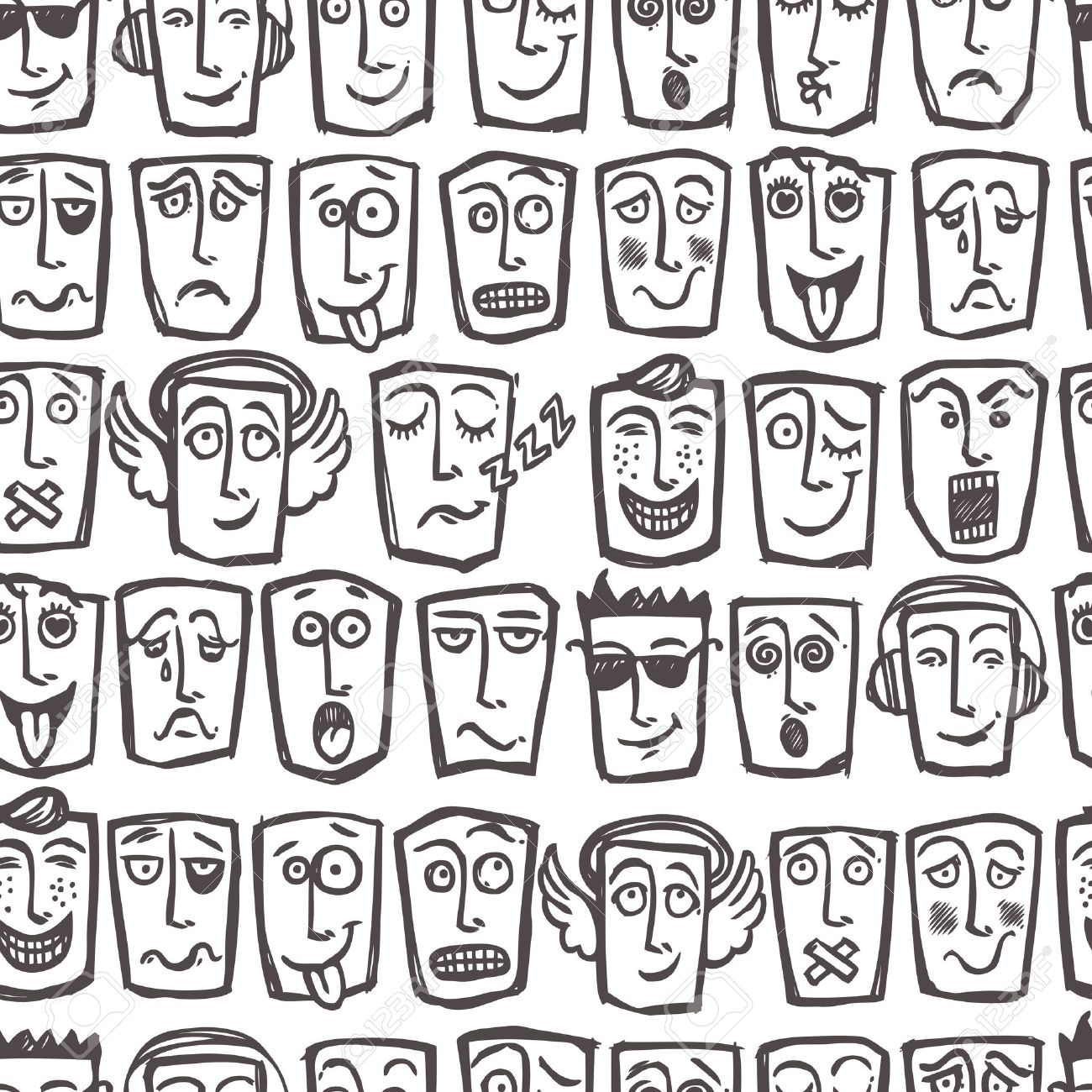 Sketch emoticons man face expressions and character seamless pattern vector illustration stock vector 32133057