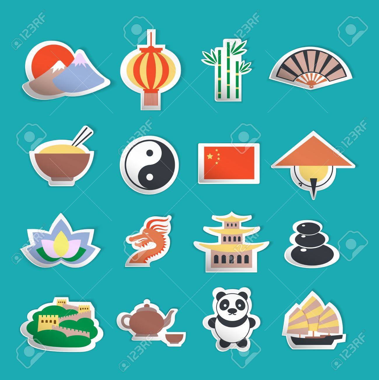 China Travel Traditional Culture Symbols Stickers Set Isolated