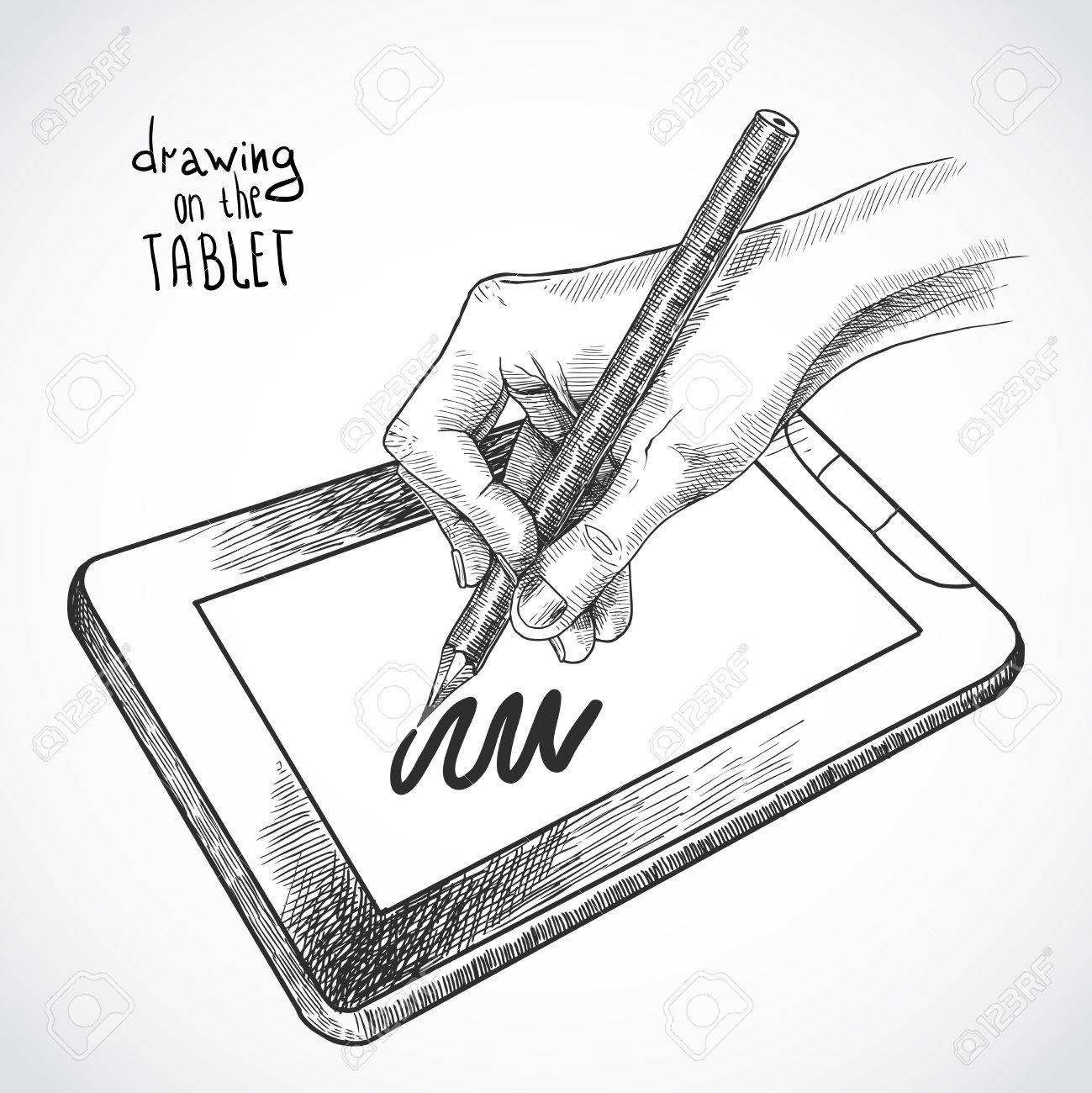 Hand Drawing On The Tablet With Graphite Pencil Sketch Isolated