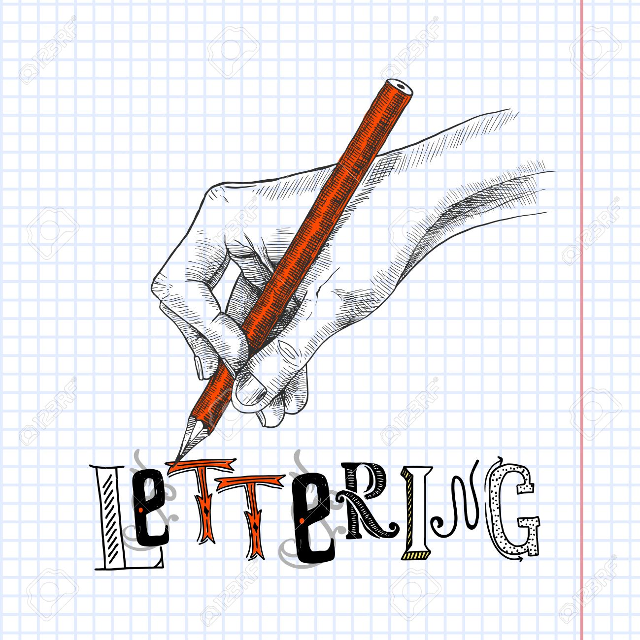 Dibujo A Mano Sobre Papel De Cuaderno Cuadriculado Con Lápiz De Grafito Ilustración Dibujo Vectorial