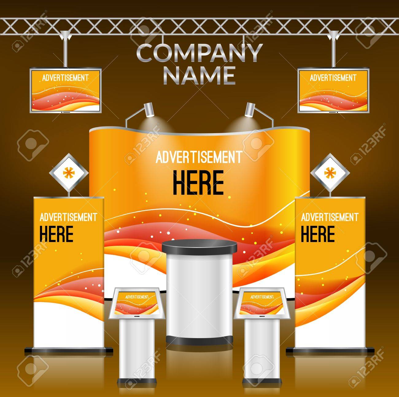 Exhibition Stand Layout Design : Exhibition advertising promotion stand orange design layout
