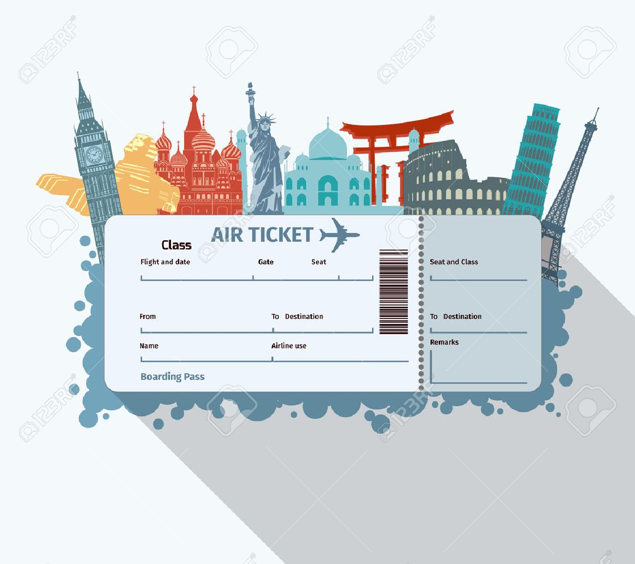 http://previews.123rf.com/images/macrovector/macrovector1410/macrovector141000262/32133382-Airplane-travel-ticket-with-world-famous-landmarks-icons-vector-illustration-Stock-Vector.jpg