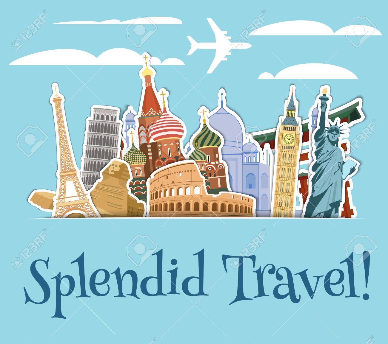 World landmarks sticker icons set with sky scrapbook background vector illustration - 32133388
