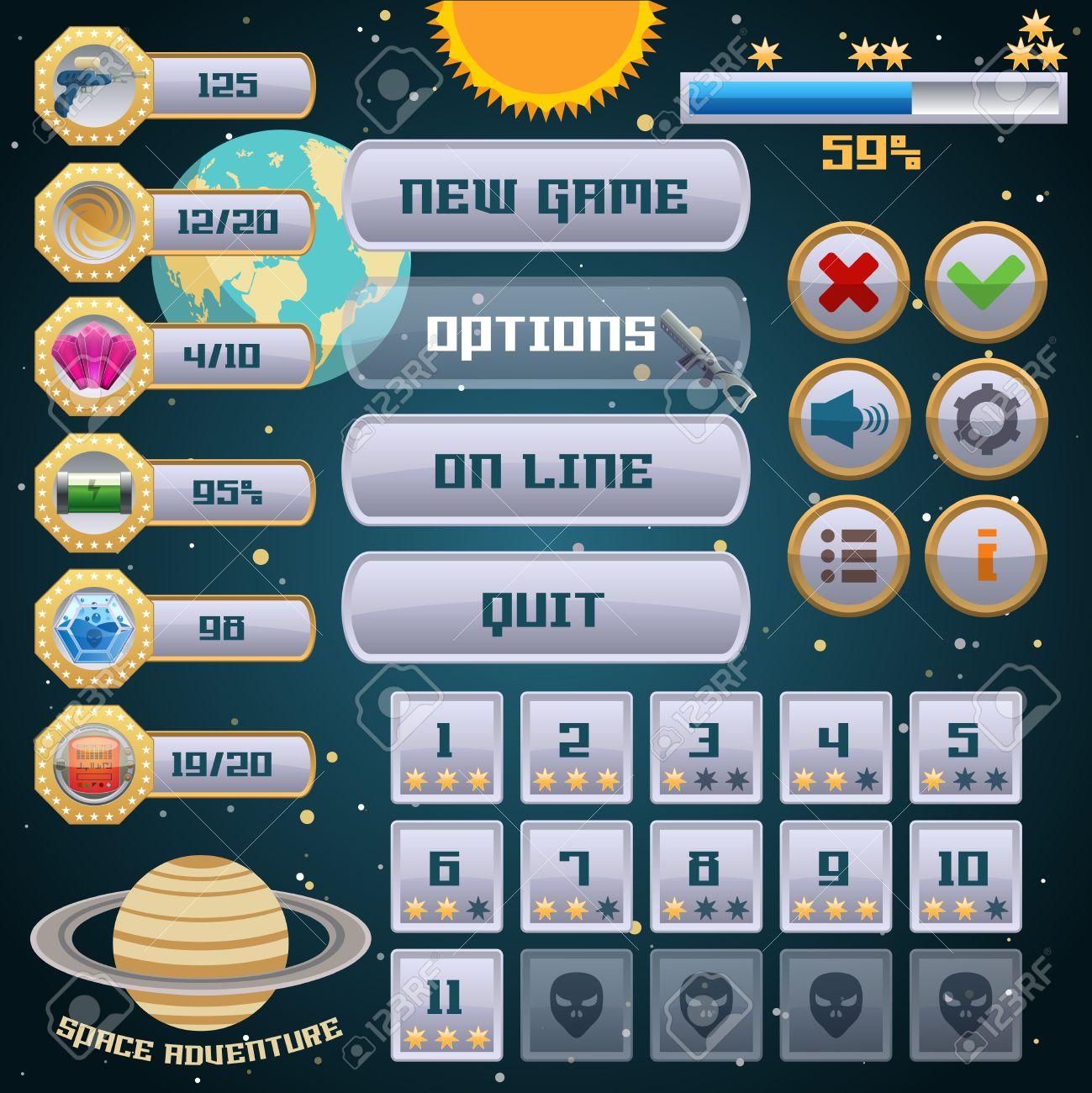 juego de aventura arcade espacial interfaz de men ilustracin diseo de plantilla de vectores