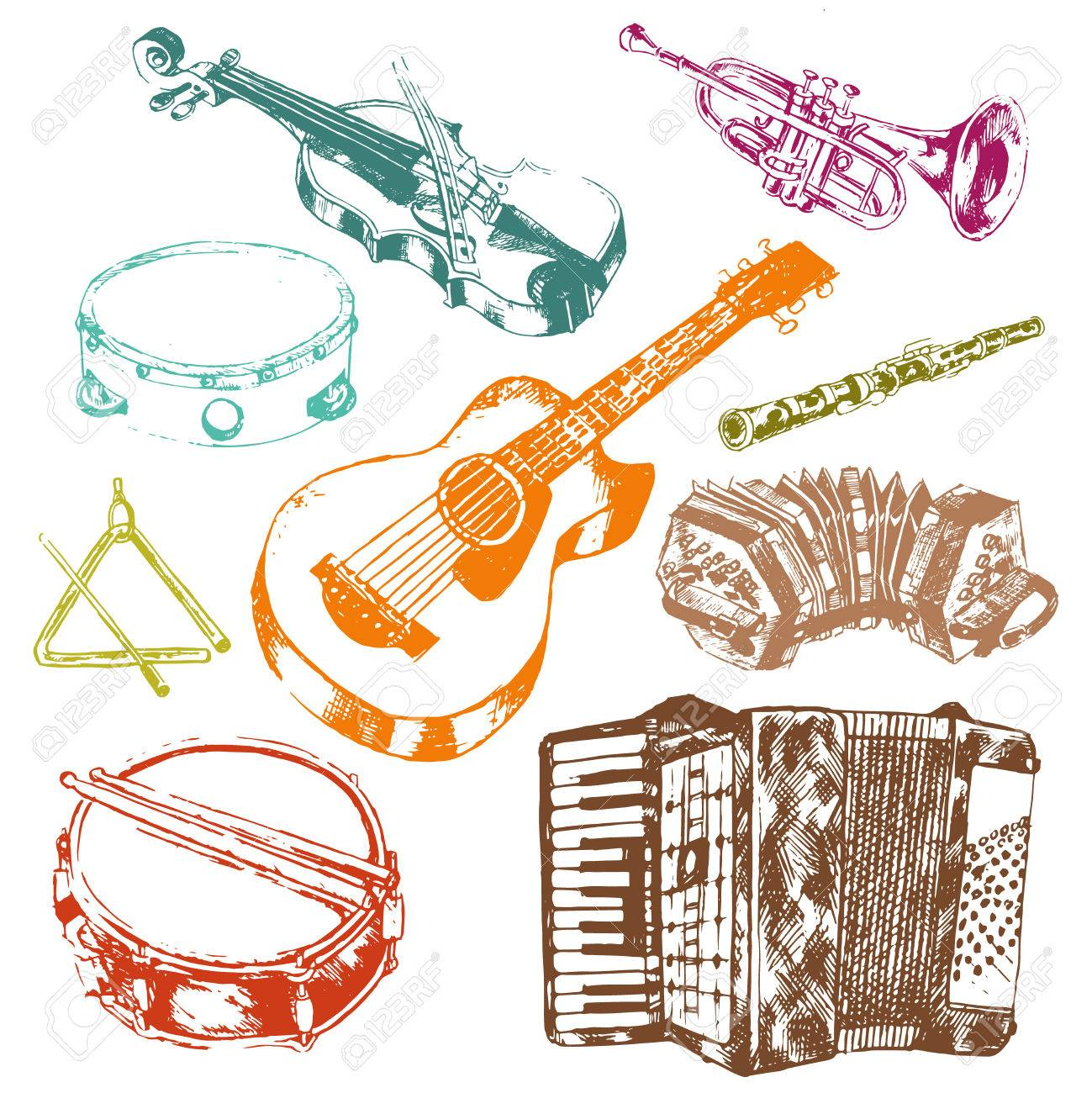 Classic Musical Concert Instruments Icons Set Of Key Accordion