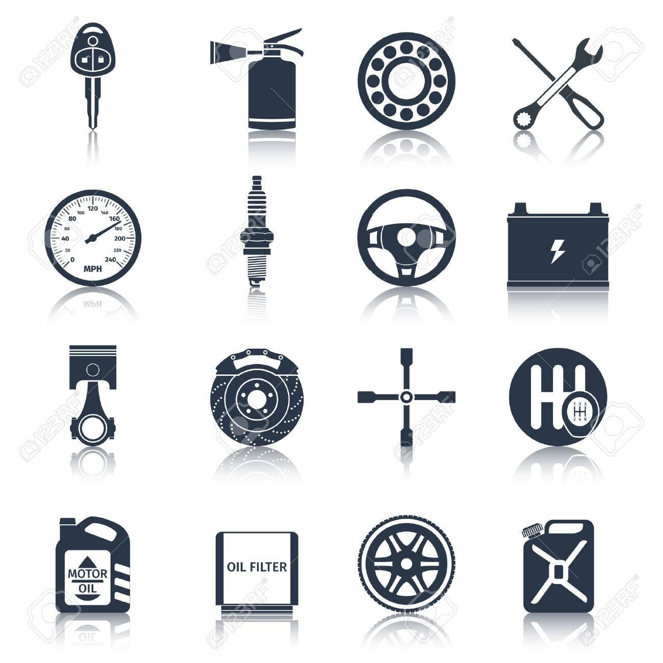 車システム部品技術自動車サービス黒いアイコン設定分離ベクトル