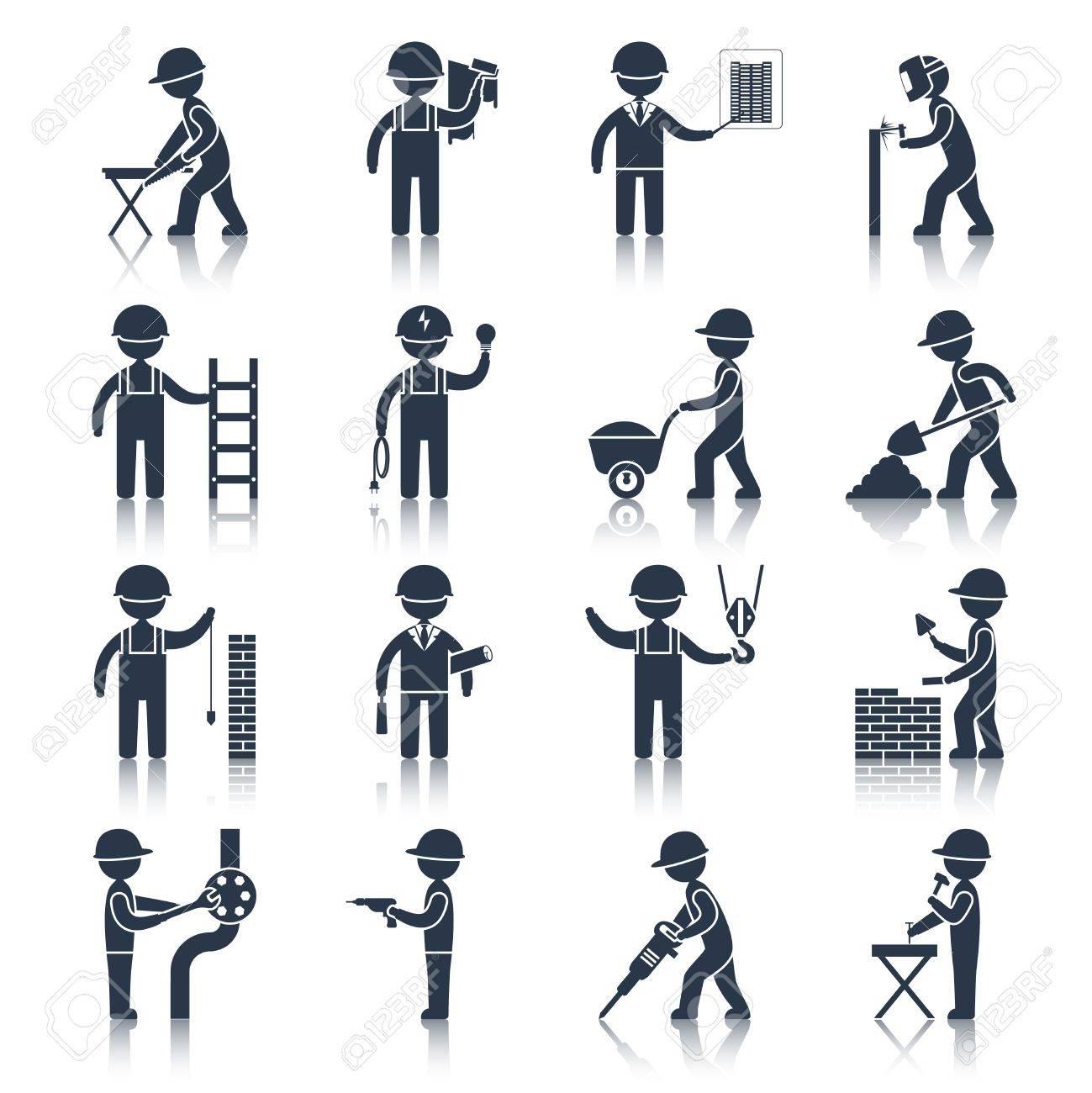 Bauarbeiter schwarz weiß  Bauarbeiter Menschen Silhouetten Icons Schwarz Satz Isoliert ...