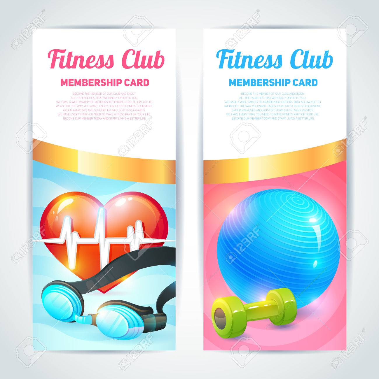 Fitness Club Membership Card Design Vertical Banners Set Isolated – Club Card Design