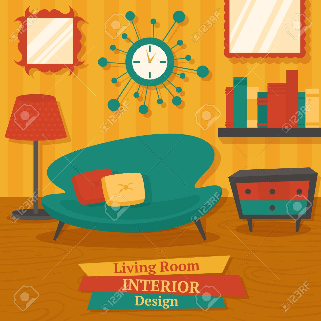 Interior Indoor Living Room Design With Sofa Lamp And Bookshelf Vector  Illustration Stock Vector   32133909
