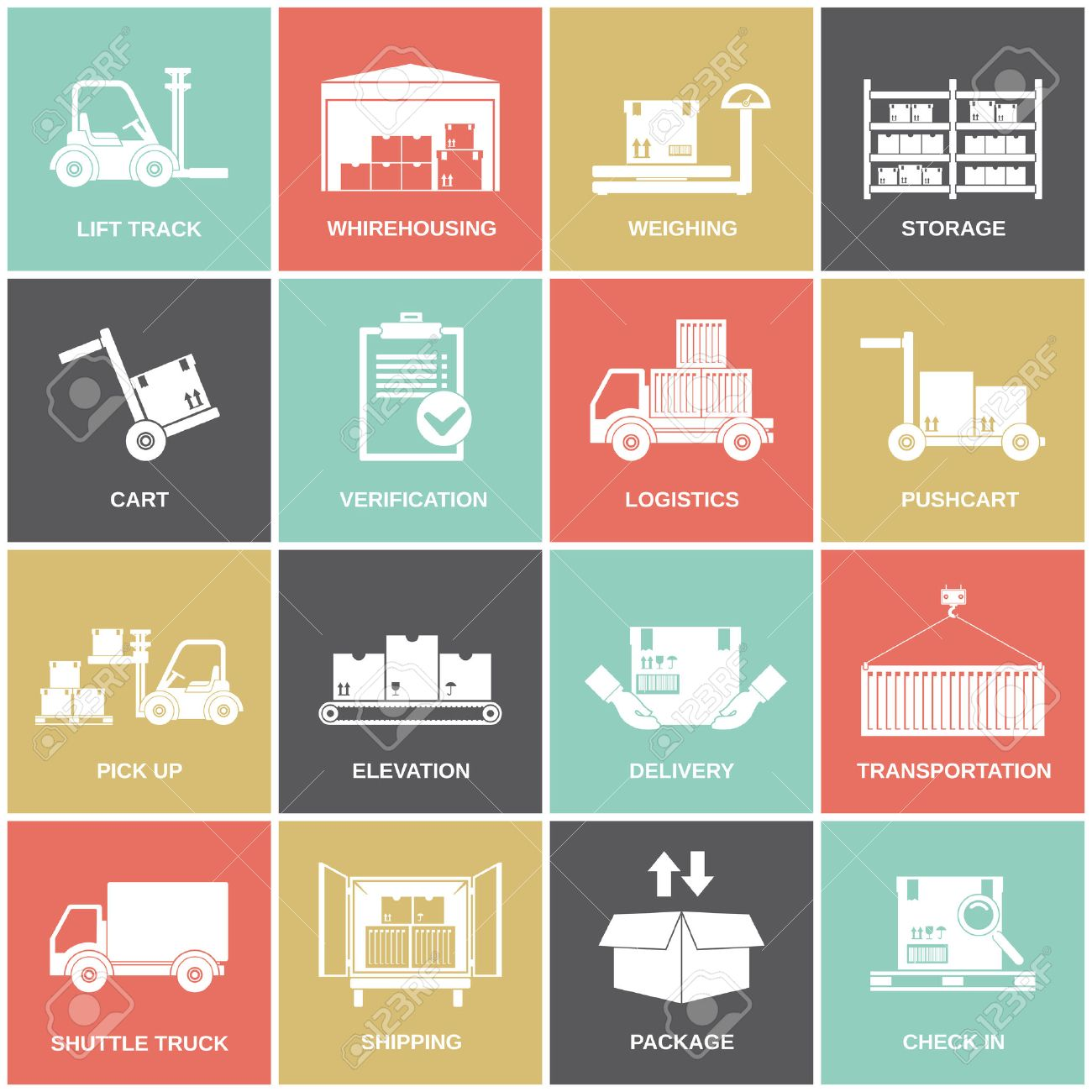 Warehouse icons flat set of storage cart verification isolated vector illustration - 32133993