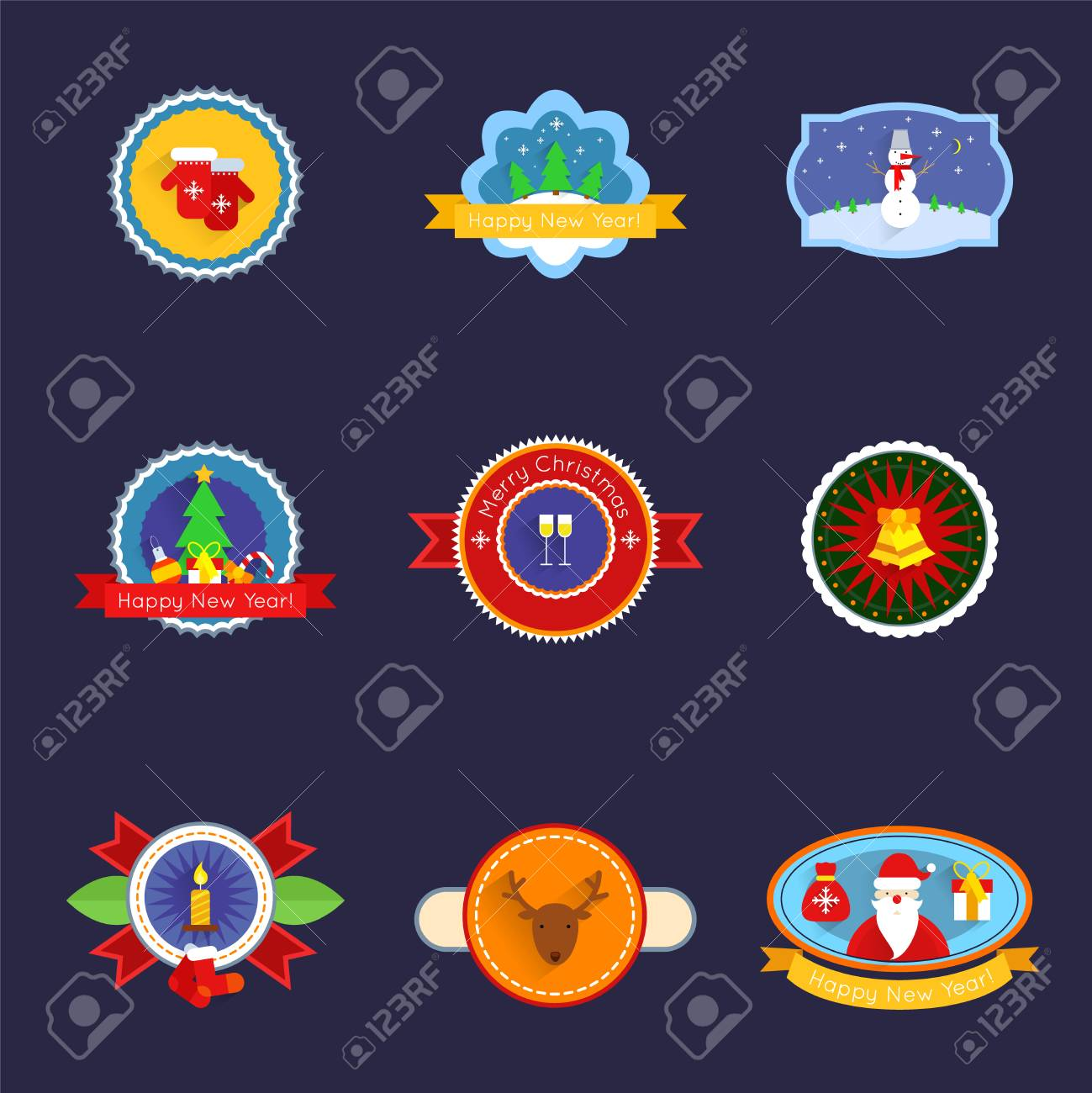 merry christmas and happy new year label set isolated vector illustration stock vector 32134096