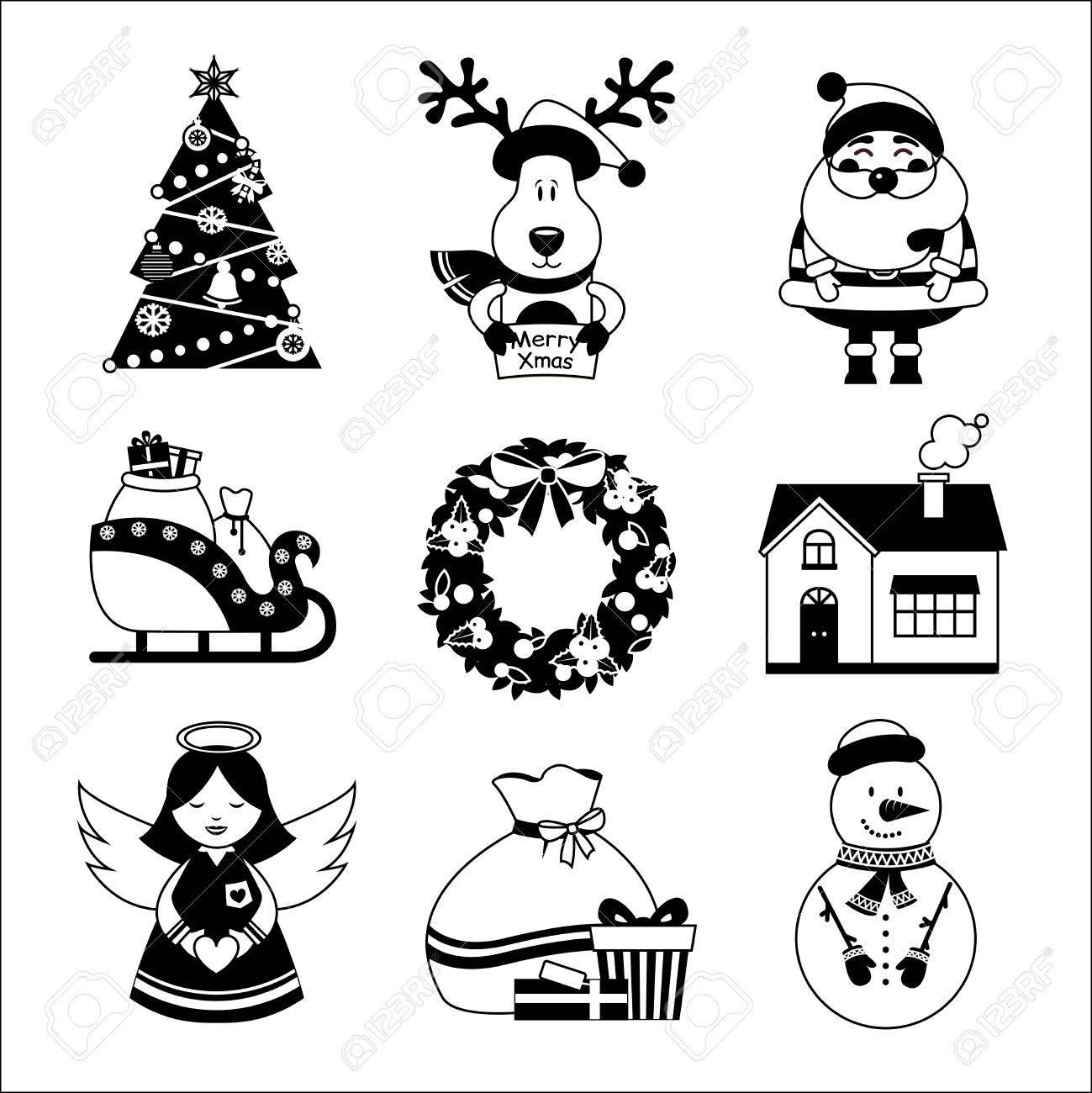 クリスマス新年装飾アイコン ギフト ボックス鹿分離雪だるまイラスト白黒