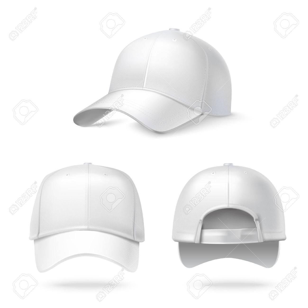 Foto de archivo - Frente espalda realista y vista lateral gorra de béisbol  blanca aislada en el fondo blanco ilustración 0048a90caef