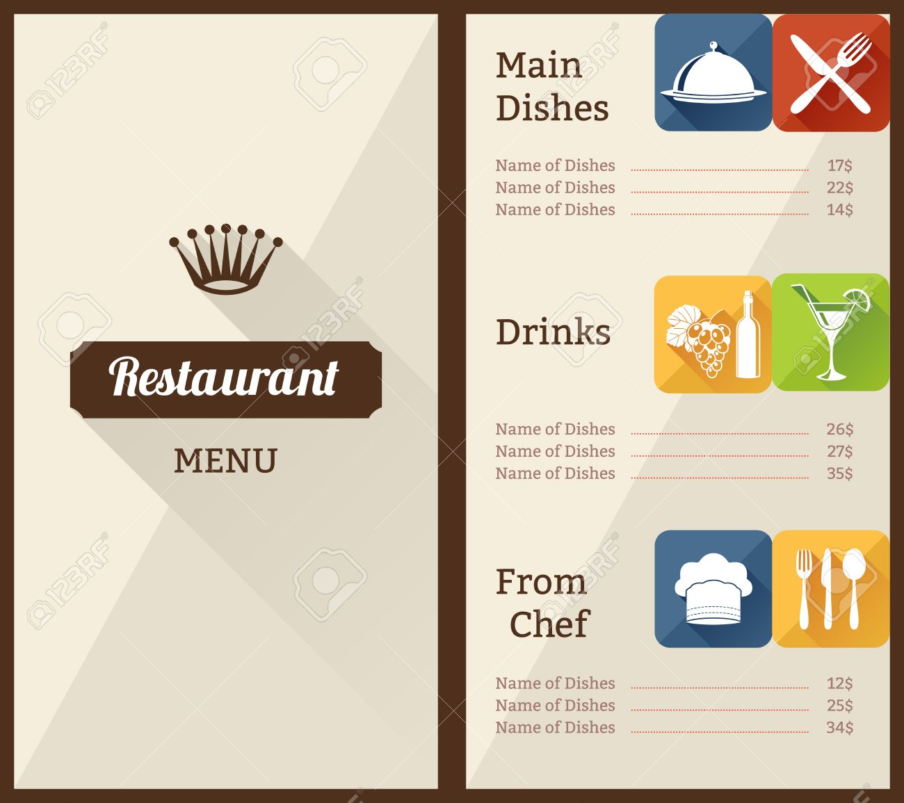 restaurant menu list paper brochure with dishes decorative elements