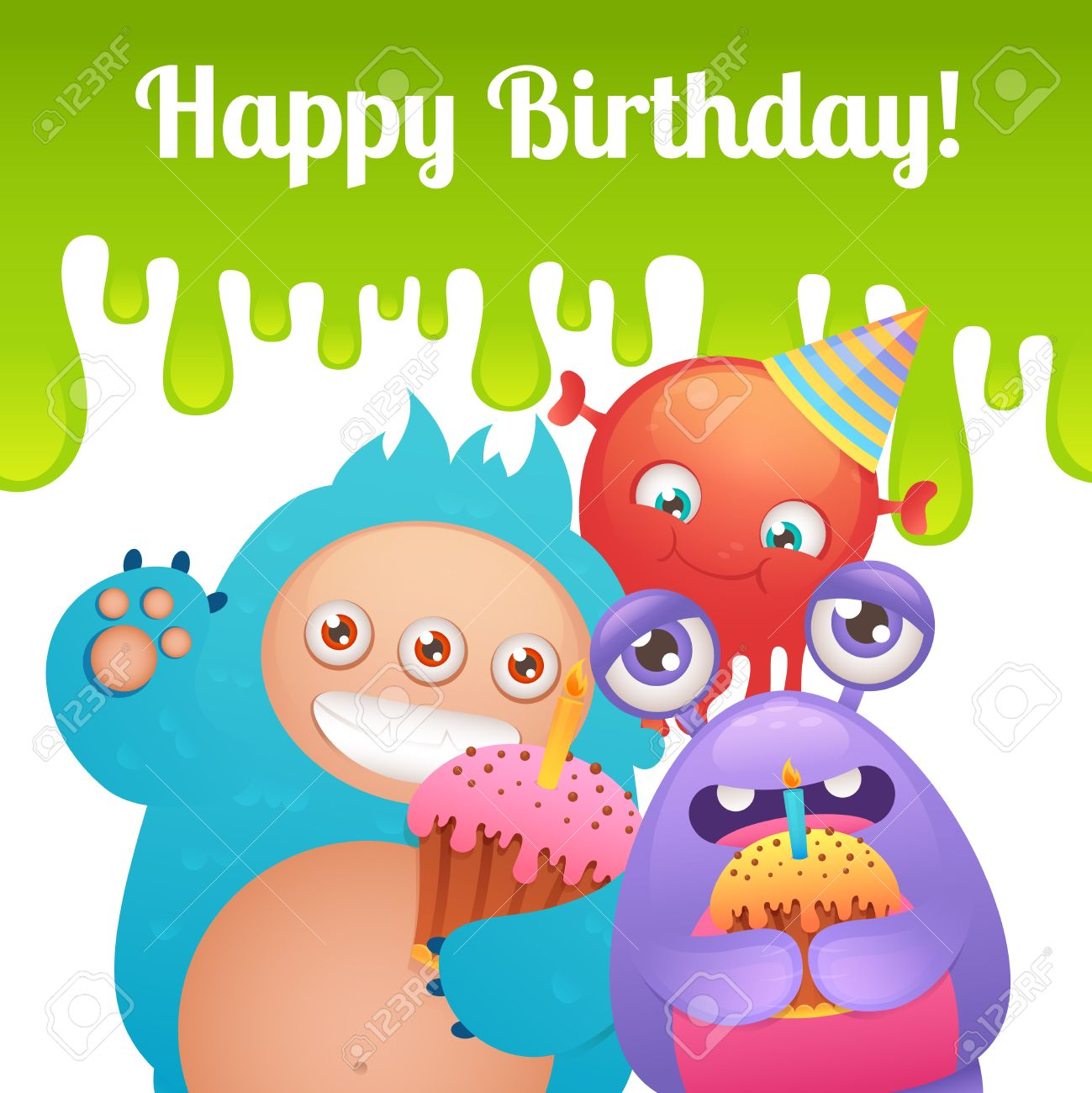cute cartoon monster party funny alien characters with cakes