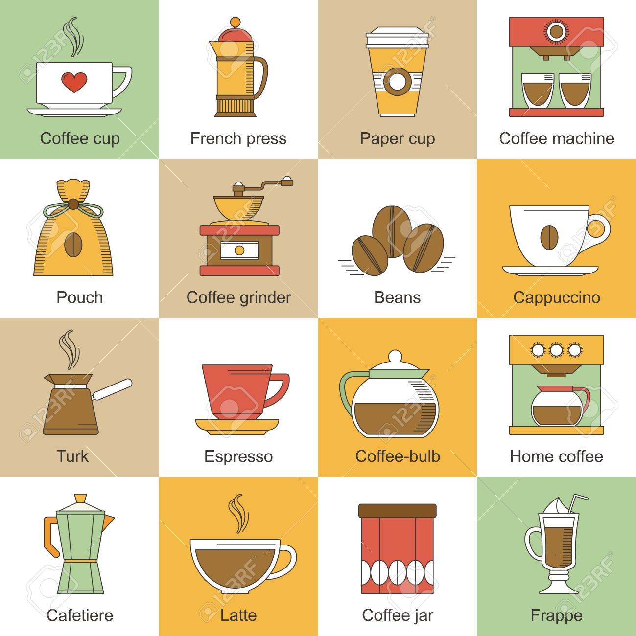 Coffee Cup Flat Icon Coffee Flat Icons Set With
