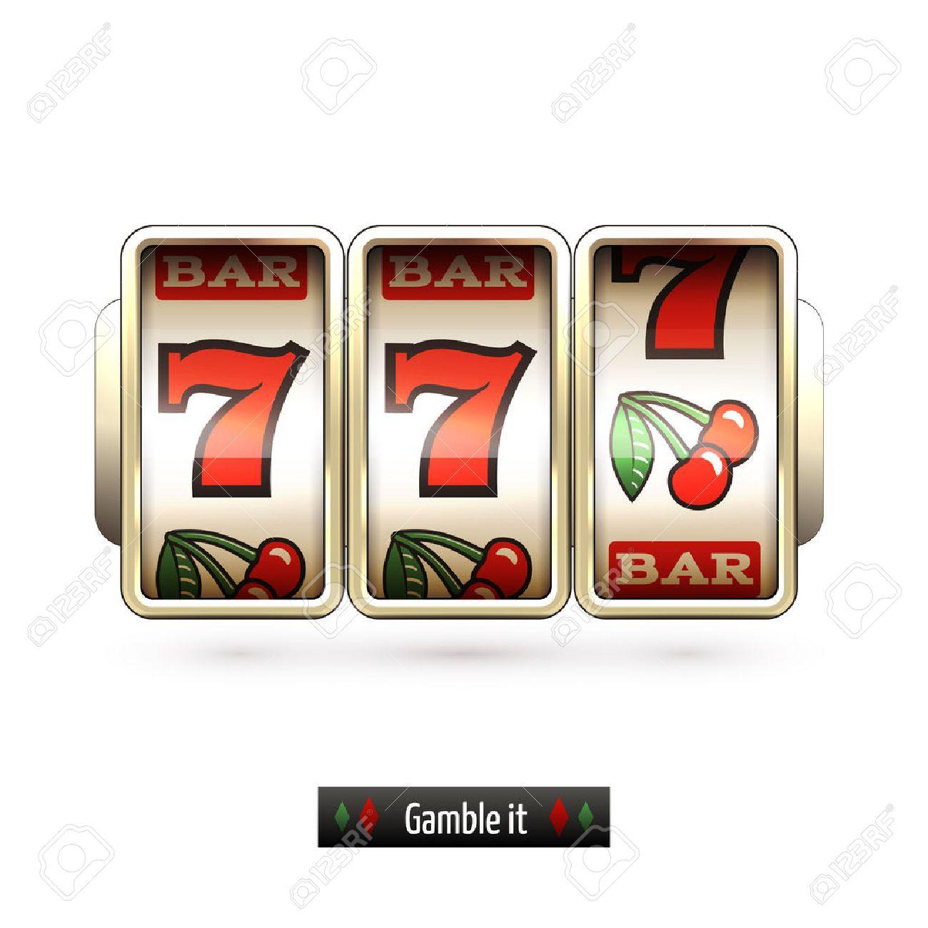 Game gamble casino slot machine realistic isolated on white background illustration - 32944860