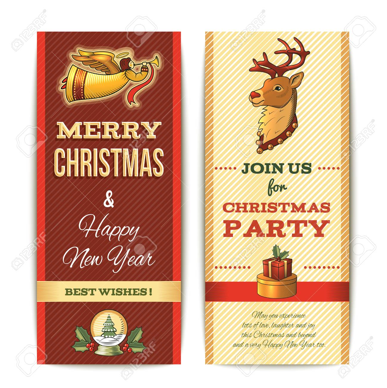 merry christmas and happy new year vertical banner set isolated illustration stock vector 32944890