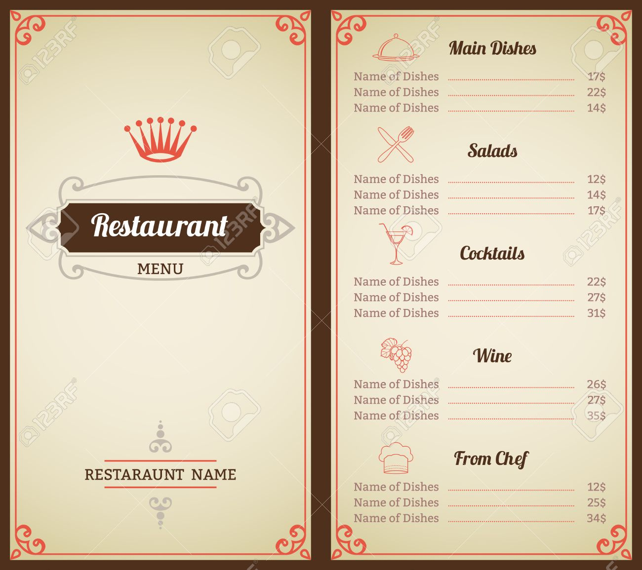 restaurant menu list brochure with food and drink decorative