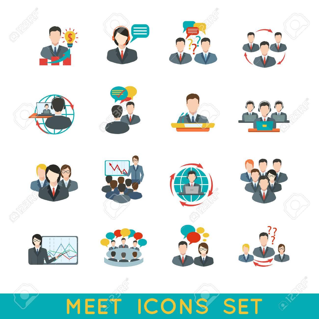 ビジネス会議フラット アイコン パートナーシップ計画会議要素分離