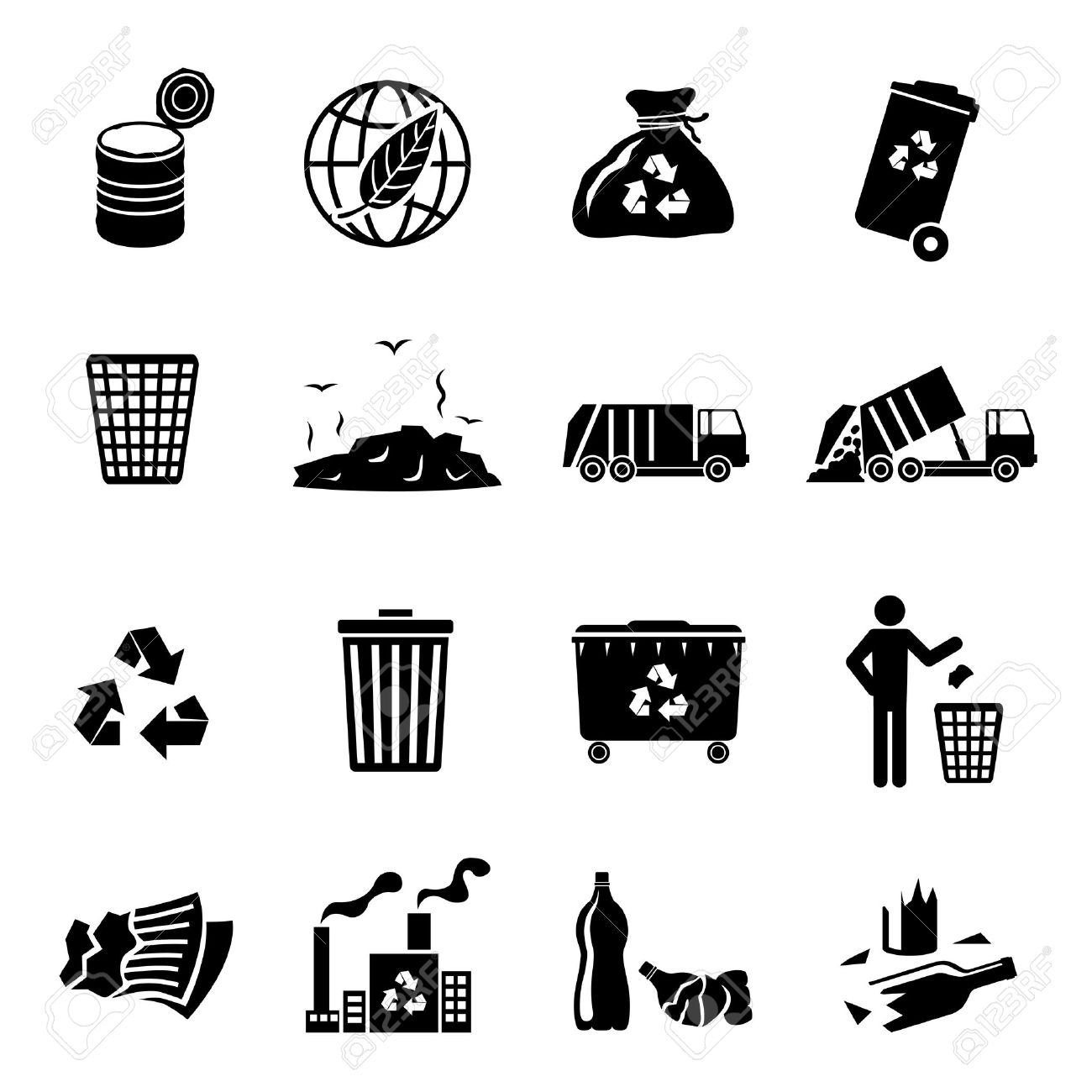 Garbage recycling icons black set of landfill trash truck dump isolated illustration - 32945848