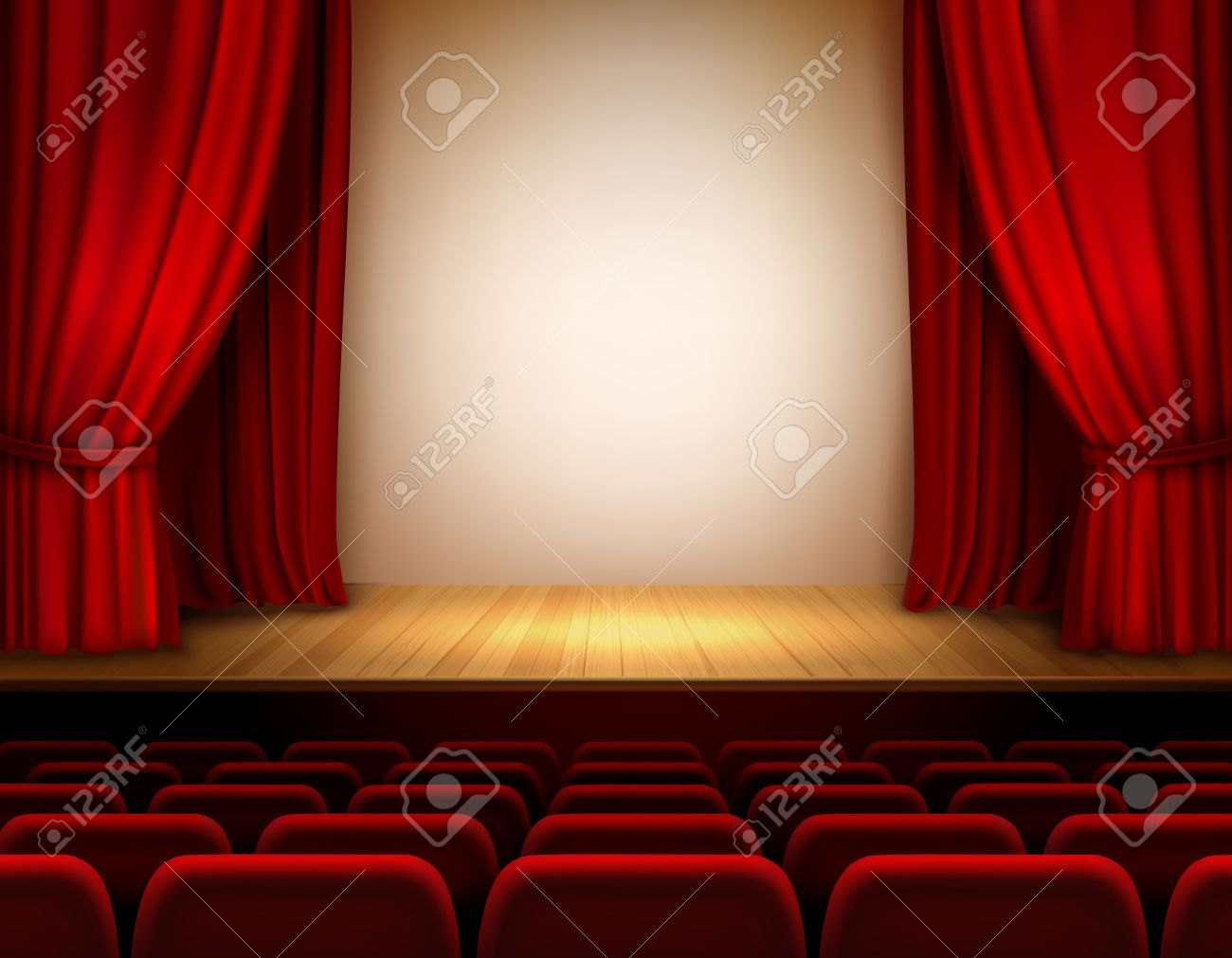 Open theater drapes or stage curtains royalty free stock image image - Theater Stage With Red Velvet Open Retro Style Curtain Background Illustration Stock Vector 32945890