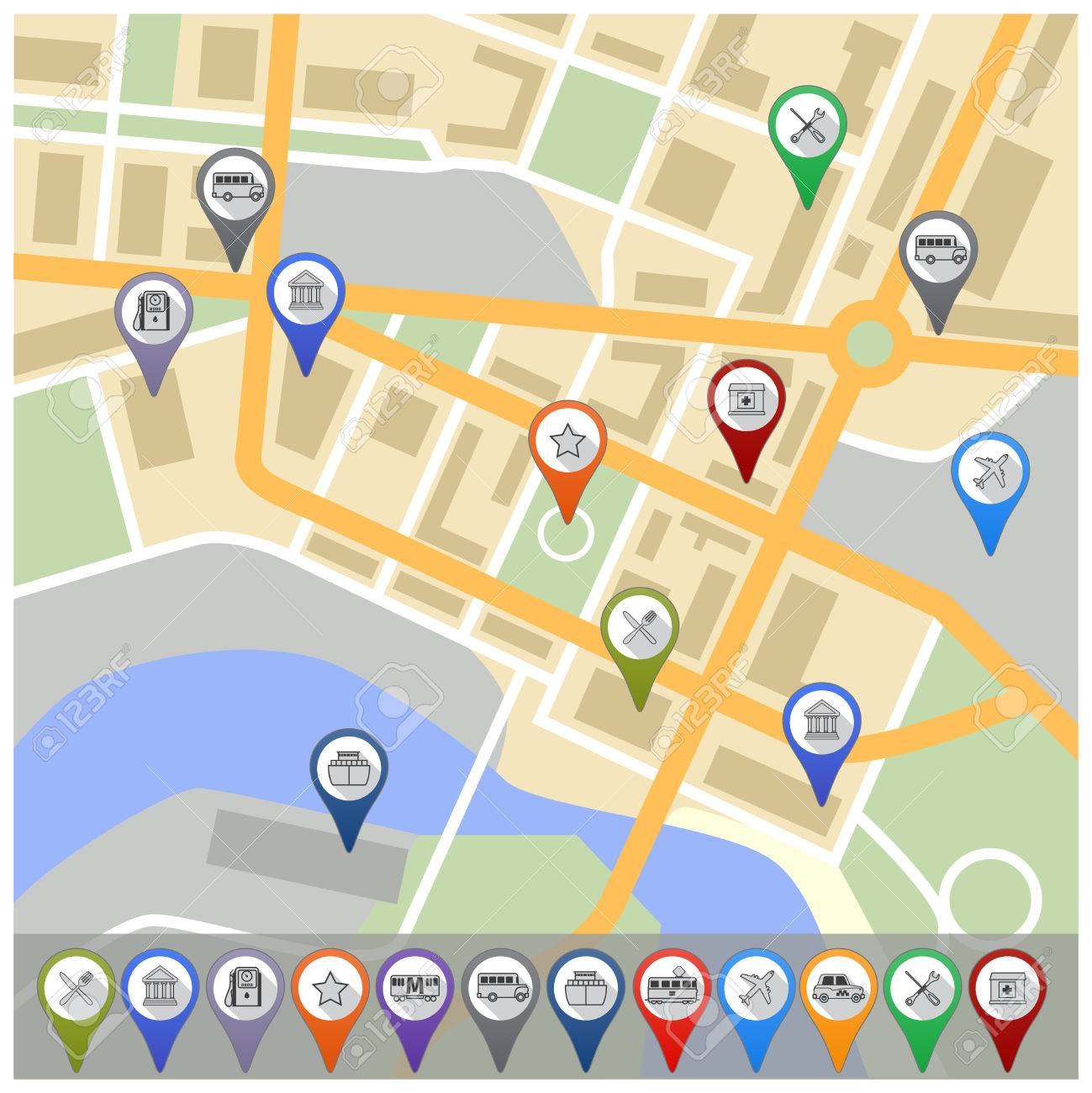Travel City Road Street Map With Navigation Gps Pin Icons – Road Navigation Map