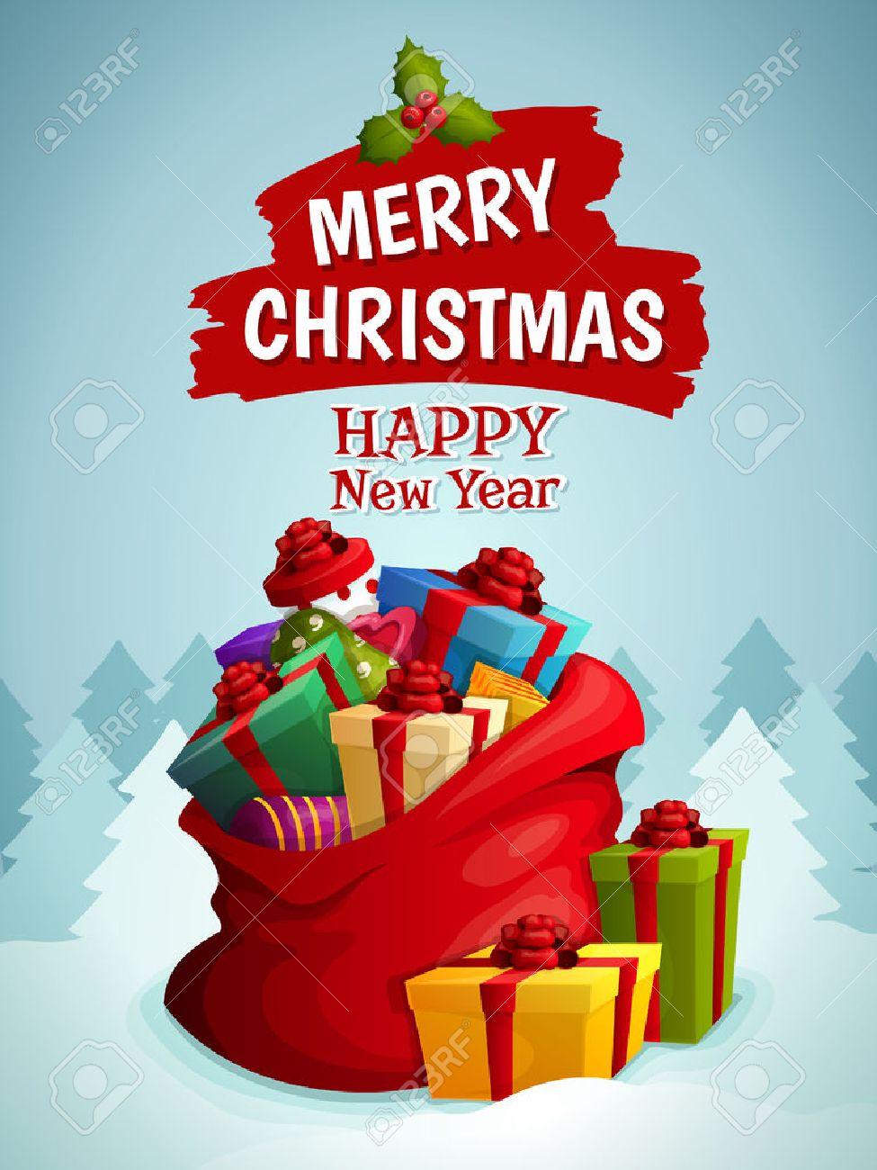 05b0fa0bdef08 Feliz año nuevo cartel Feliz Navidad con bolsa de regalos de navidad cajas  en el bosque